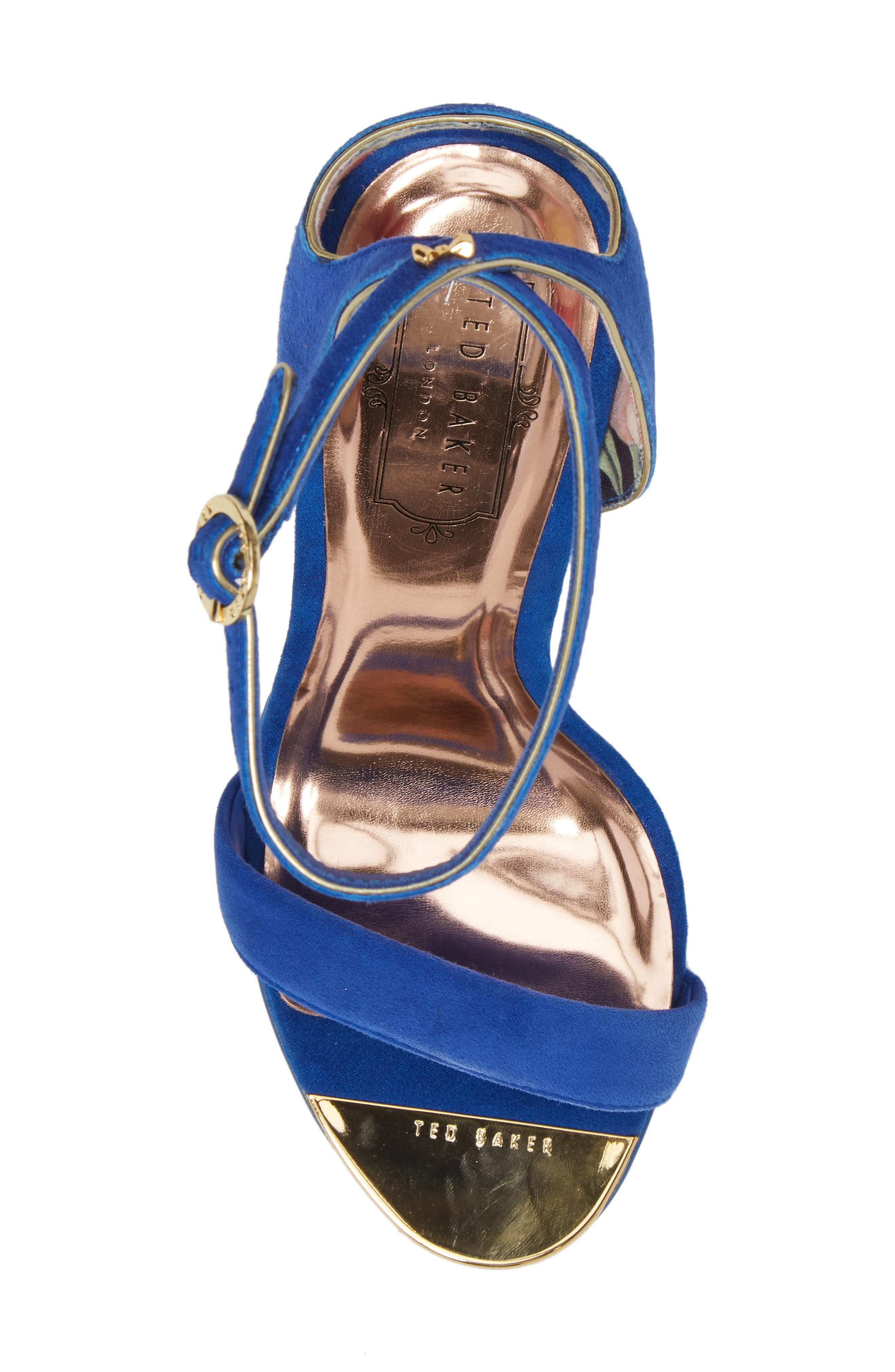Mirobell Ankle Strap Sandal,                             Alternate thumbnail 5, color,                             Blue Suede