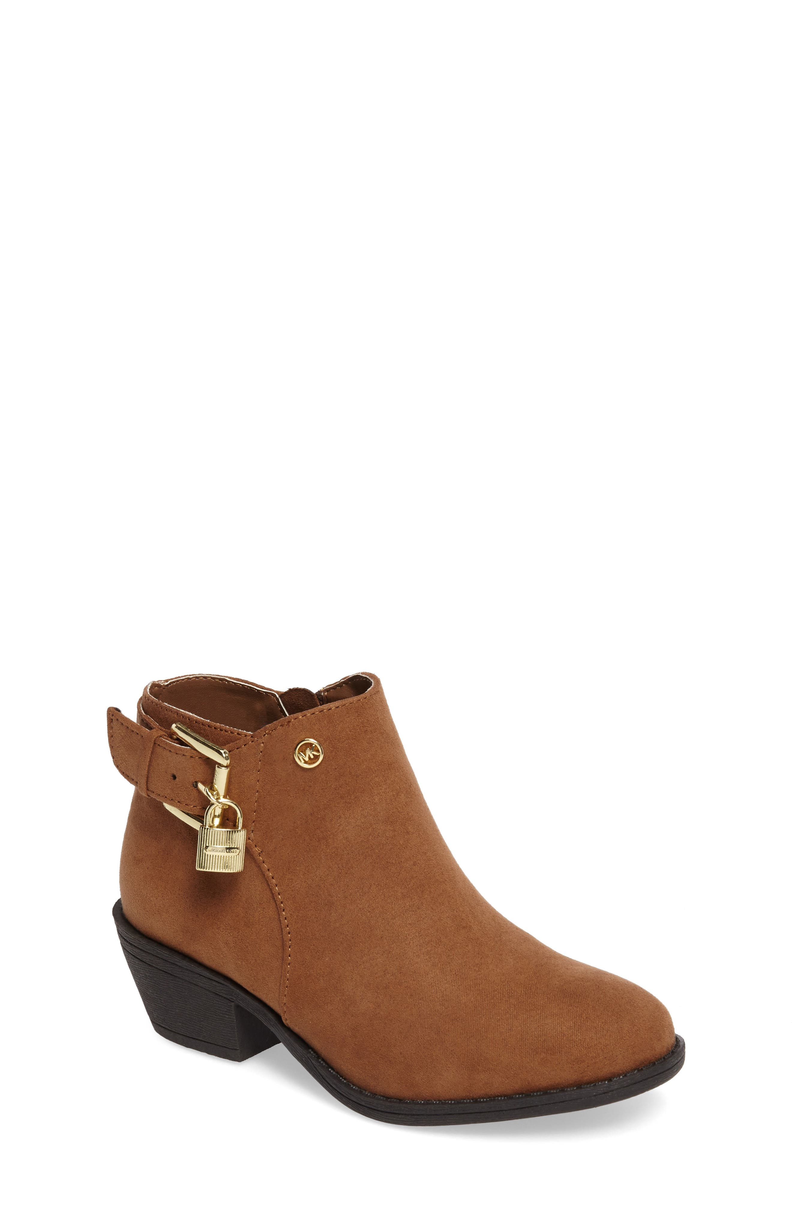Fia Shine Buckle Strap Bootie,                             Main thumbnail 1, color,                             Caramel Micro