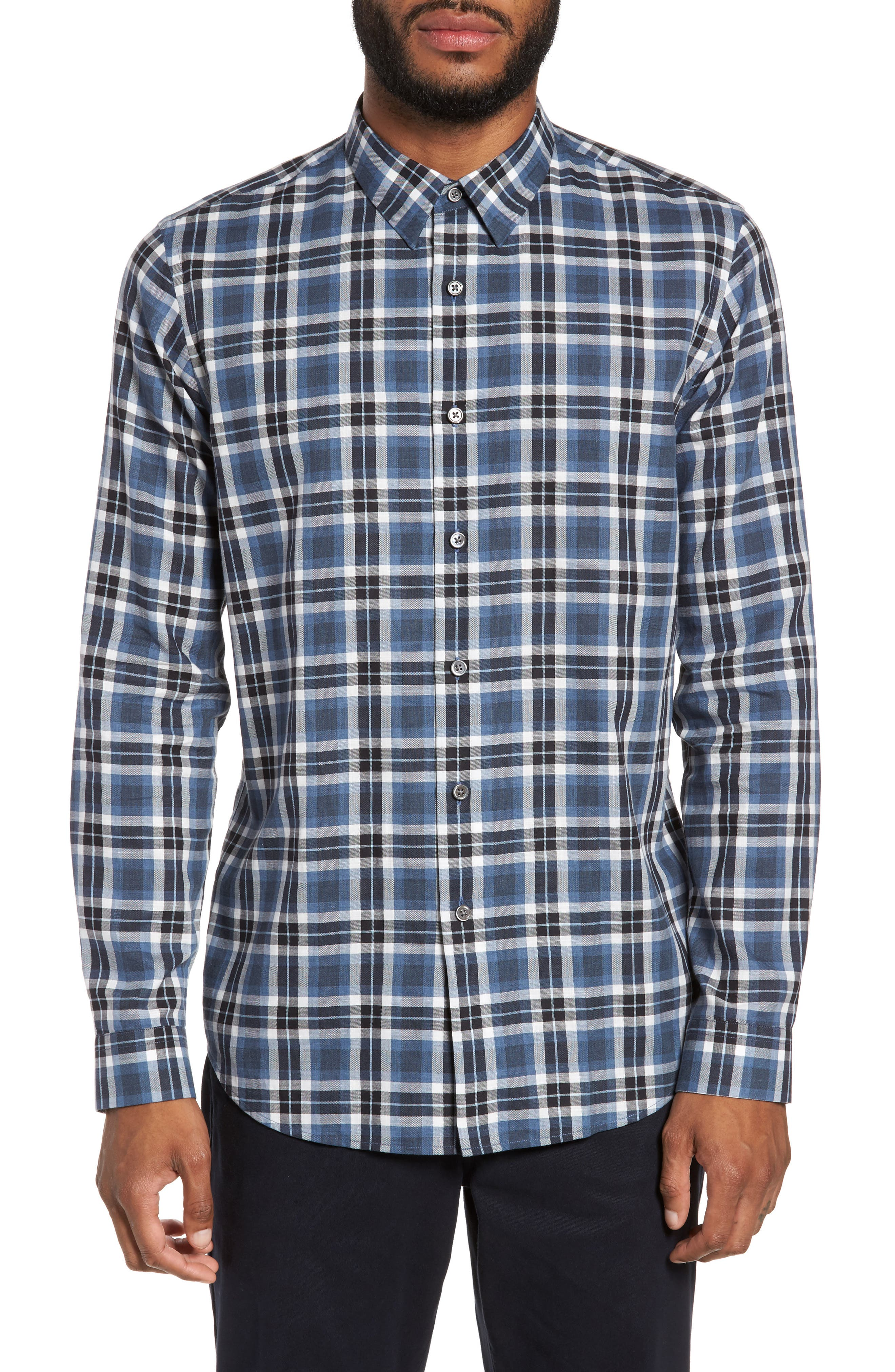 Trim Fit Plaid Flannel Shirt,                             Main thumbnail 1, color,                             River Multi