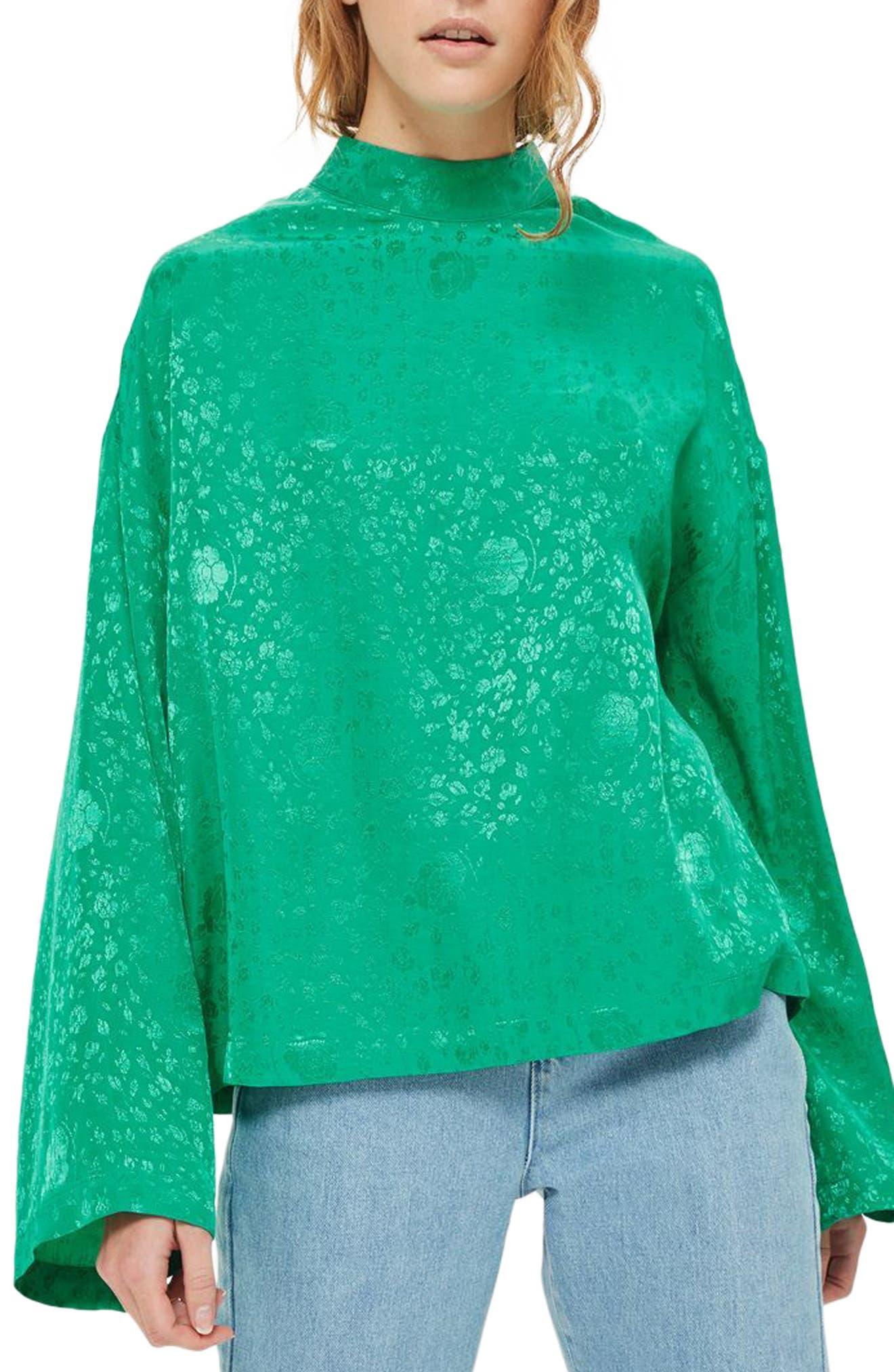 Jacquard Kimono Sleeve Top,                             Main thumbnail 1, color,                             Bright Green