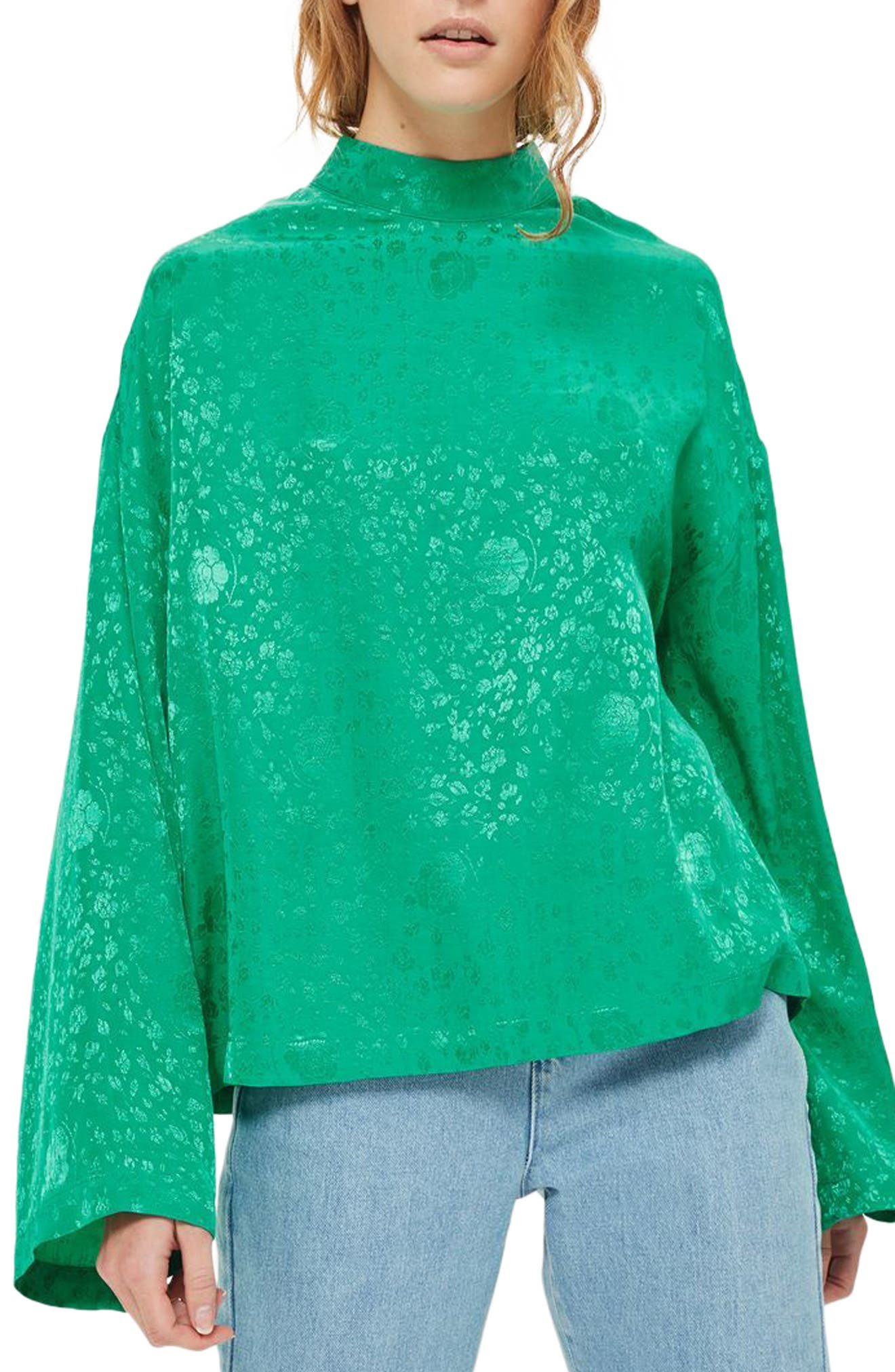 Main Image - Topshop Jacquard Kimono Sleeve Top