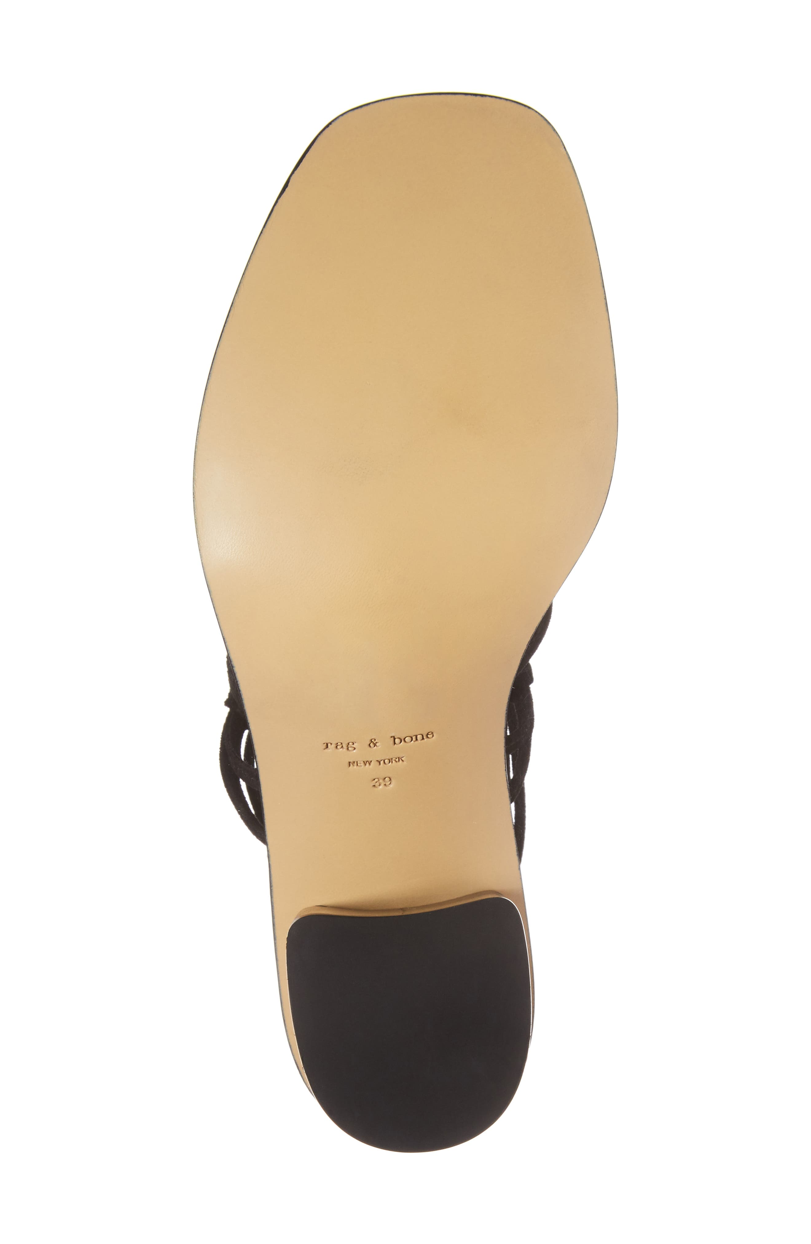 Camille Knotted Strappy Sandal,                             Alternate thumbnail 6, color,                             Black Suede