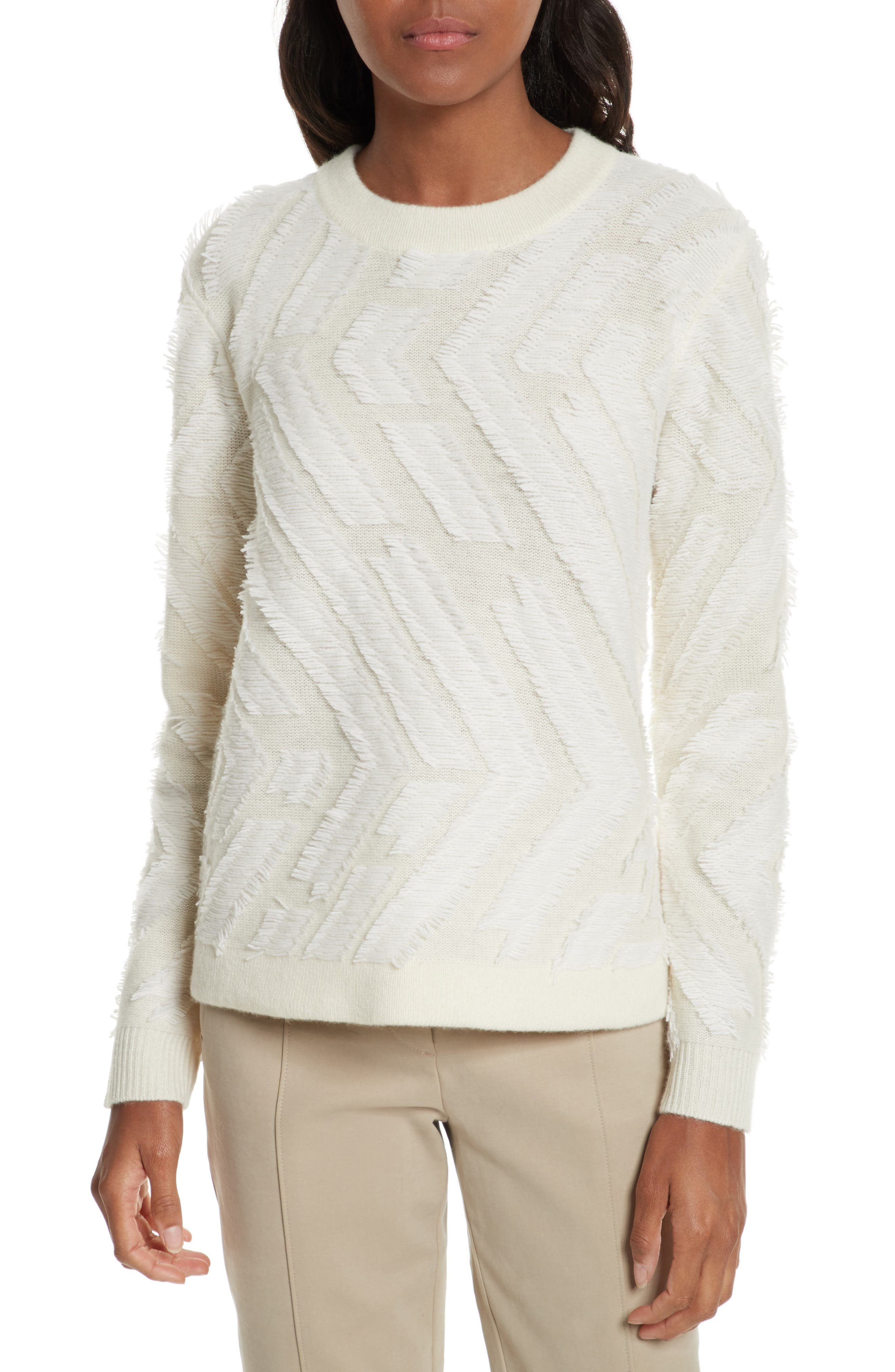 Textured Wool Sweater,                             Main thumbnail 1, color,                             New Ivory