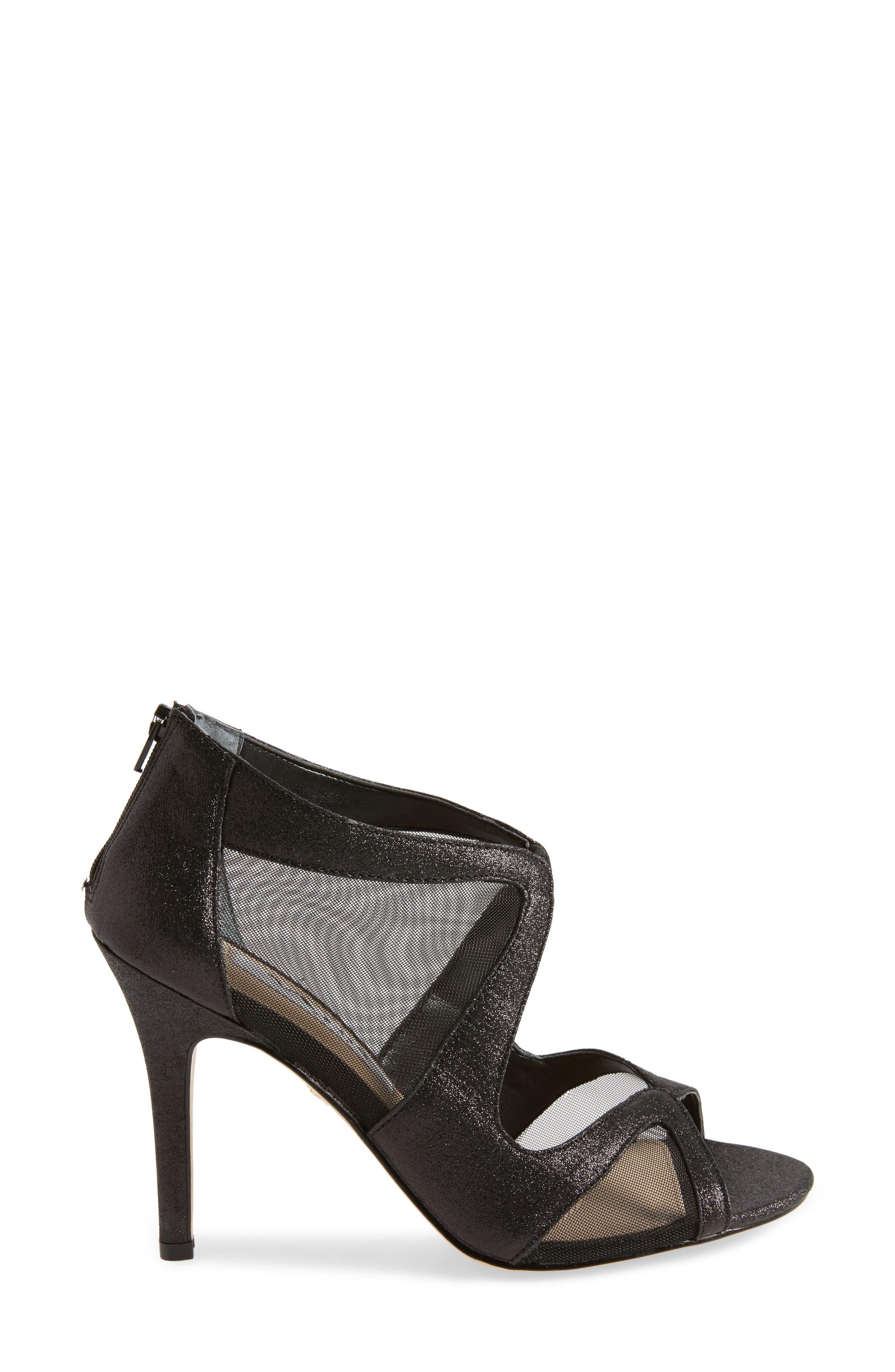 Cordella Open Toe Pump,                             Alternate thumbnail 3, color,                             Black Glitter Fabric