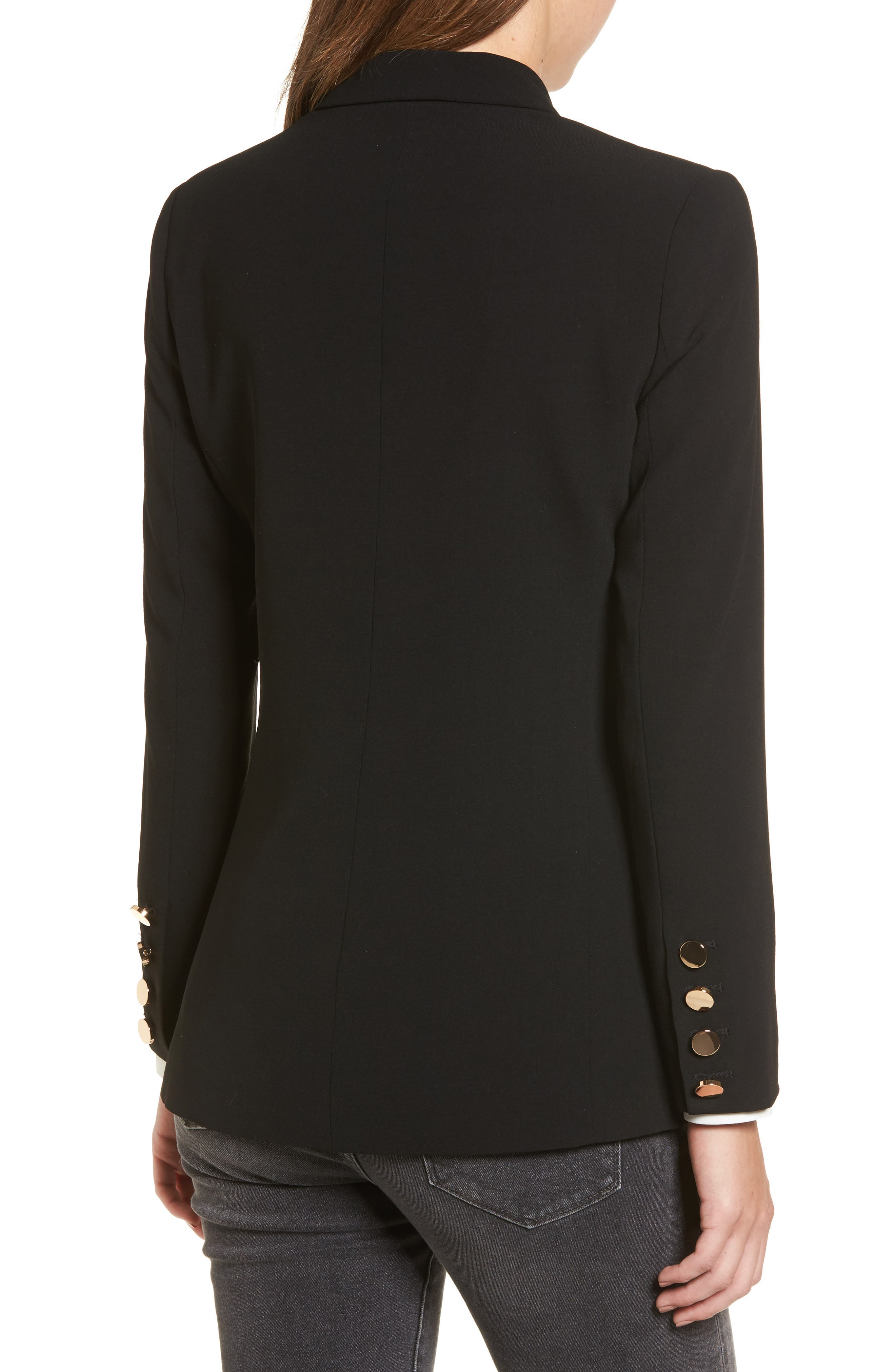 Oversize Double Breasted Blazer,                             Alternate thumbnail 5, color,                             Black