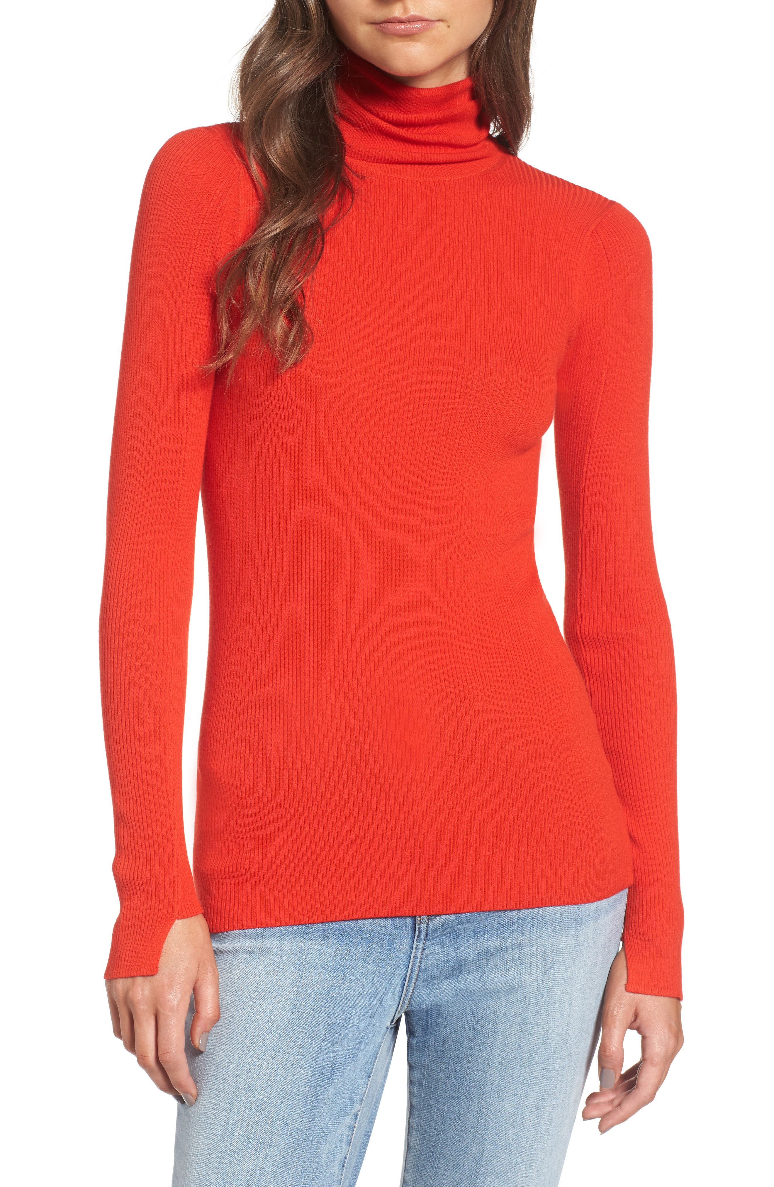 x Something Navy Turtleneck Sweater,                             Main thumbnail 1, color,                             Red Fiery
