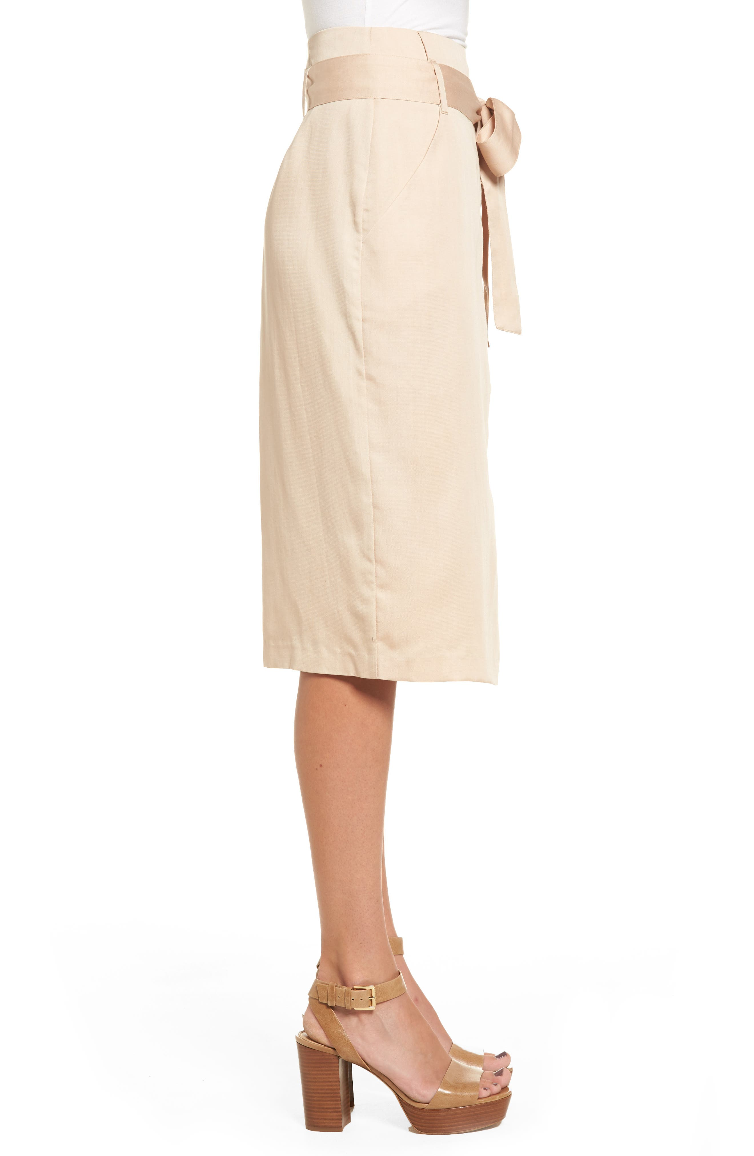 Tie Waist Pencil Skirt,                             Alternate thumbnail 3, color,                             Taupe