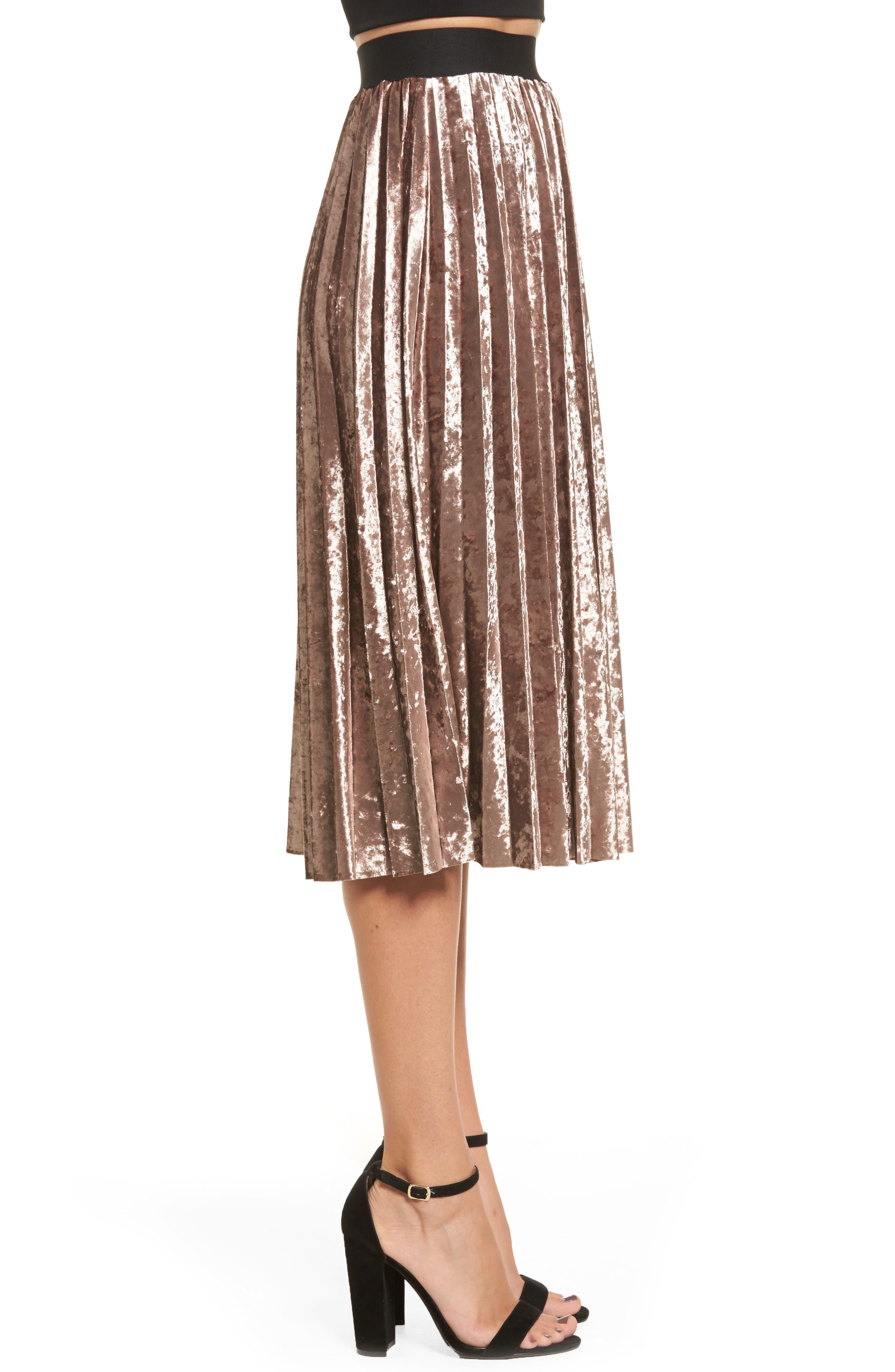 Pleated Velvet Skirt,                             Alternate thumbnail 3, color,                             Mink