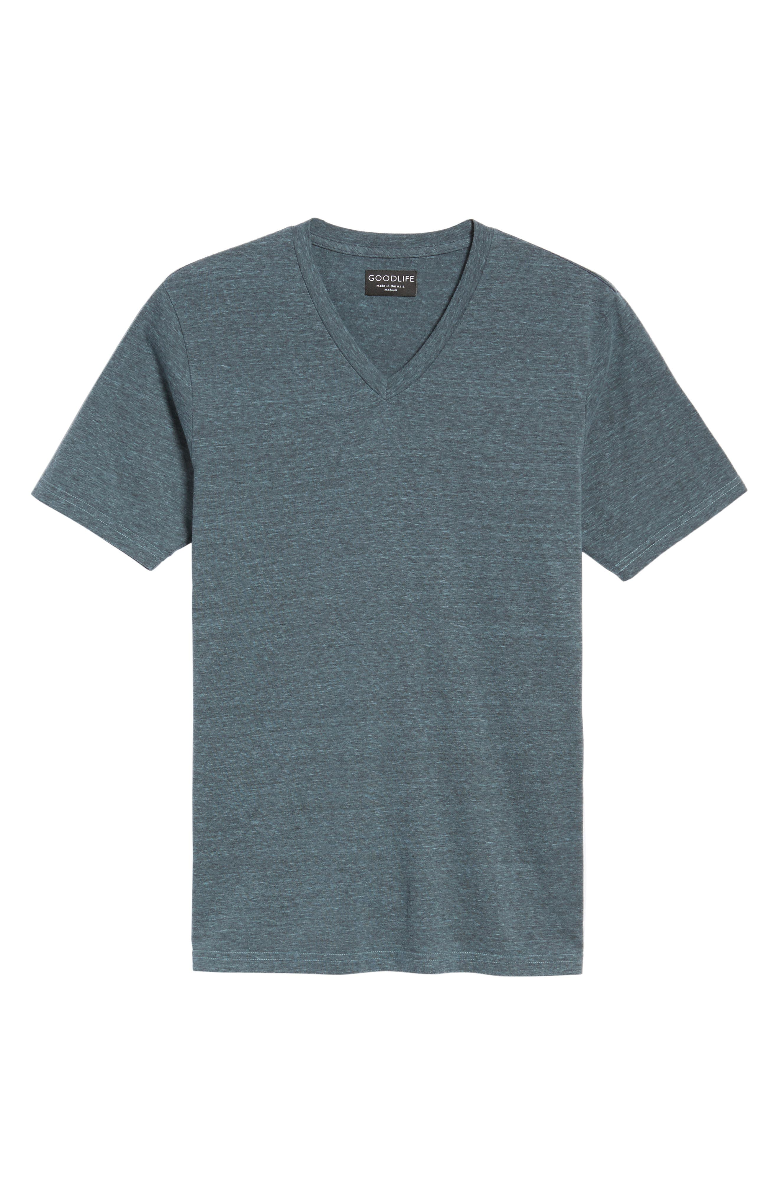 V-Neck Heathered T-Shirt,                             Alternate thumbnail 5, color,                             Real Teal