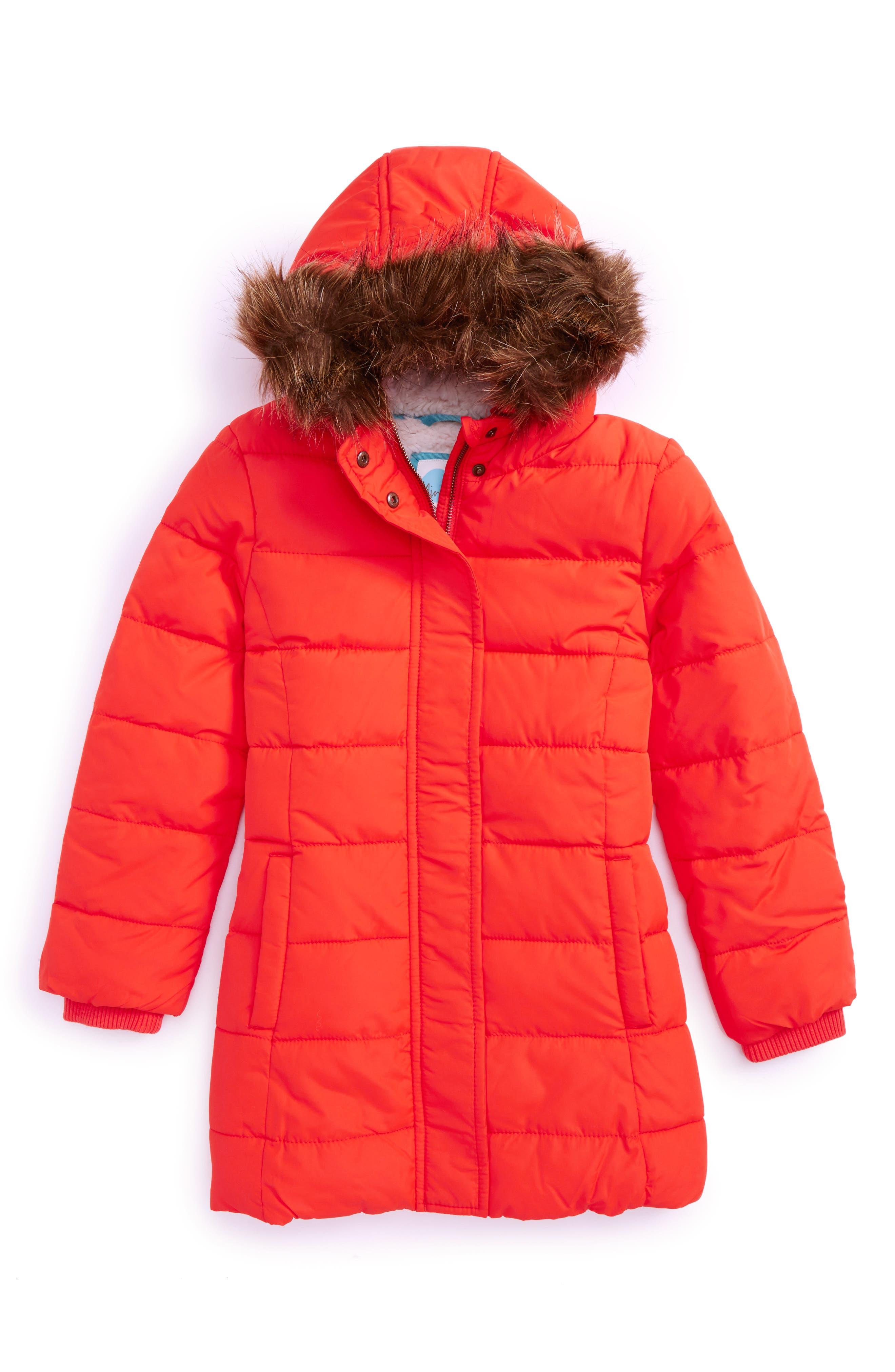 Main Image - Mini Boden Long Padded Water Resistant Jacket (Toddler Girls, Little Girls & Big Girls)