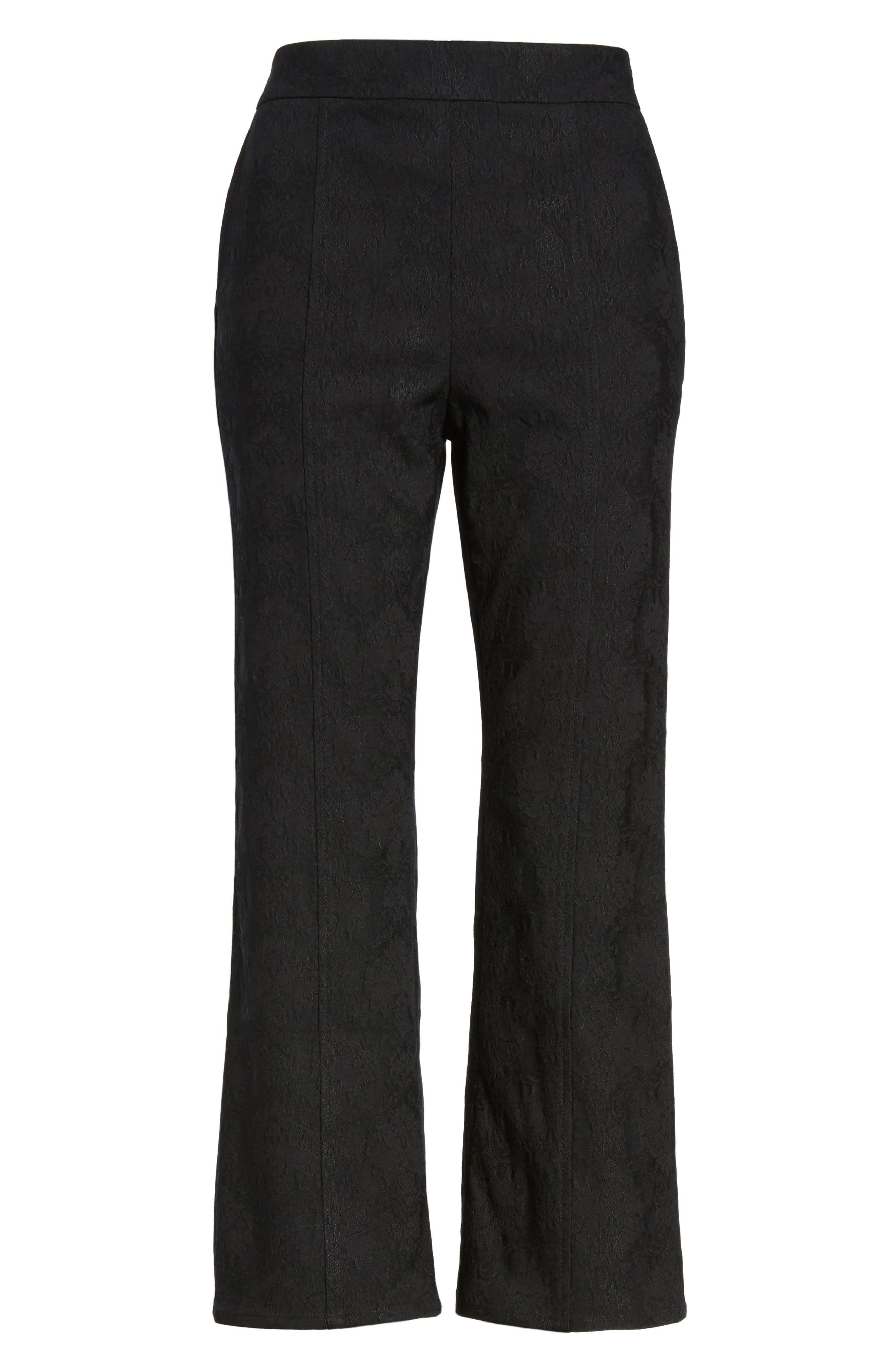 Leigh High Waist Crop Pants,                             Alternate thumbnail 7, color,                             Black