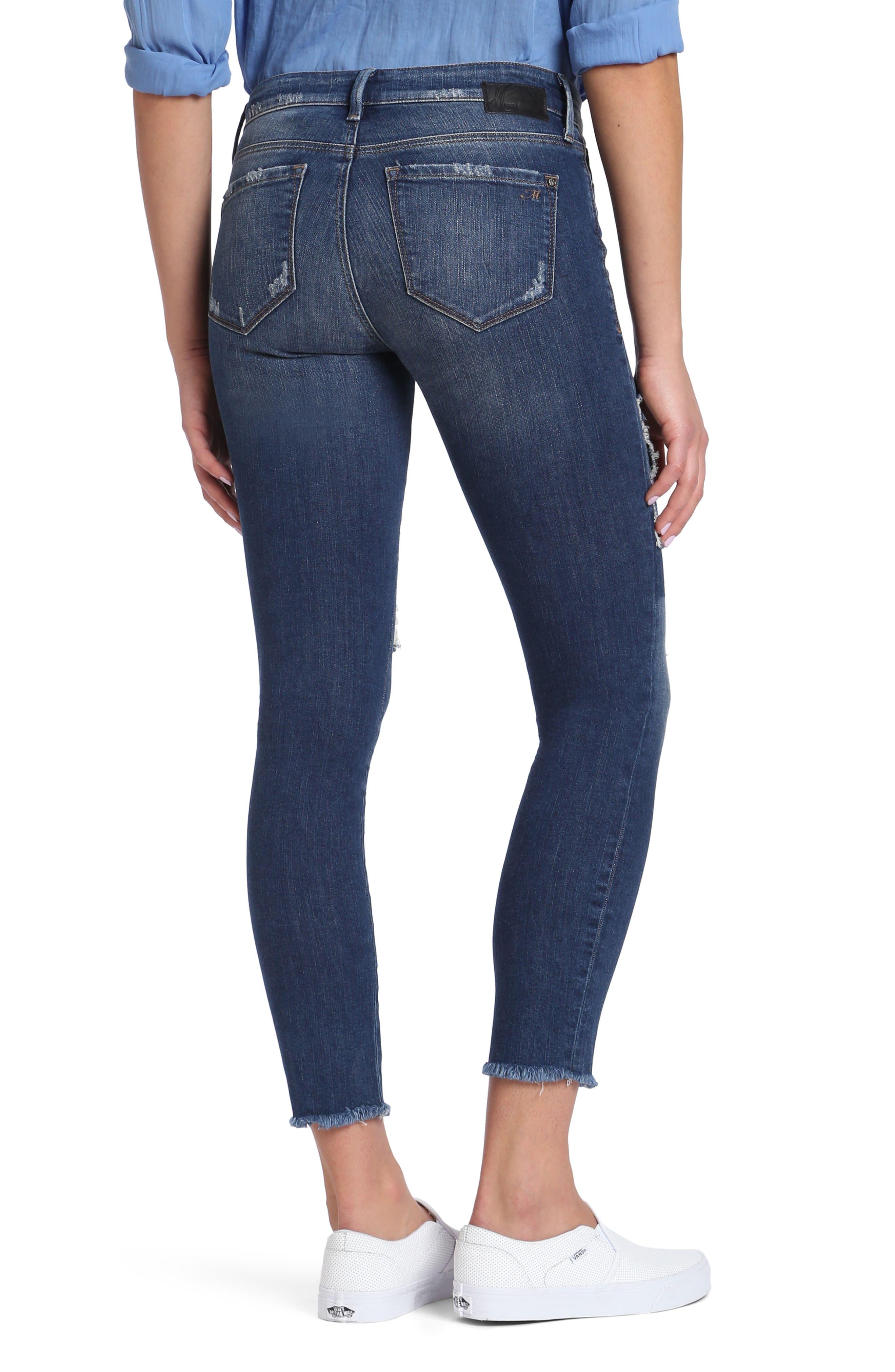 Alternate Image 2  - Mavi Jeans Adriana Patched Stretch Skinny Jeans (Indigo Patched Vintage)