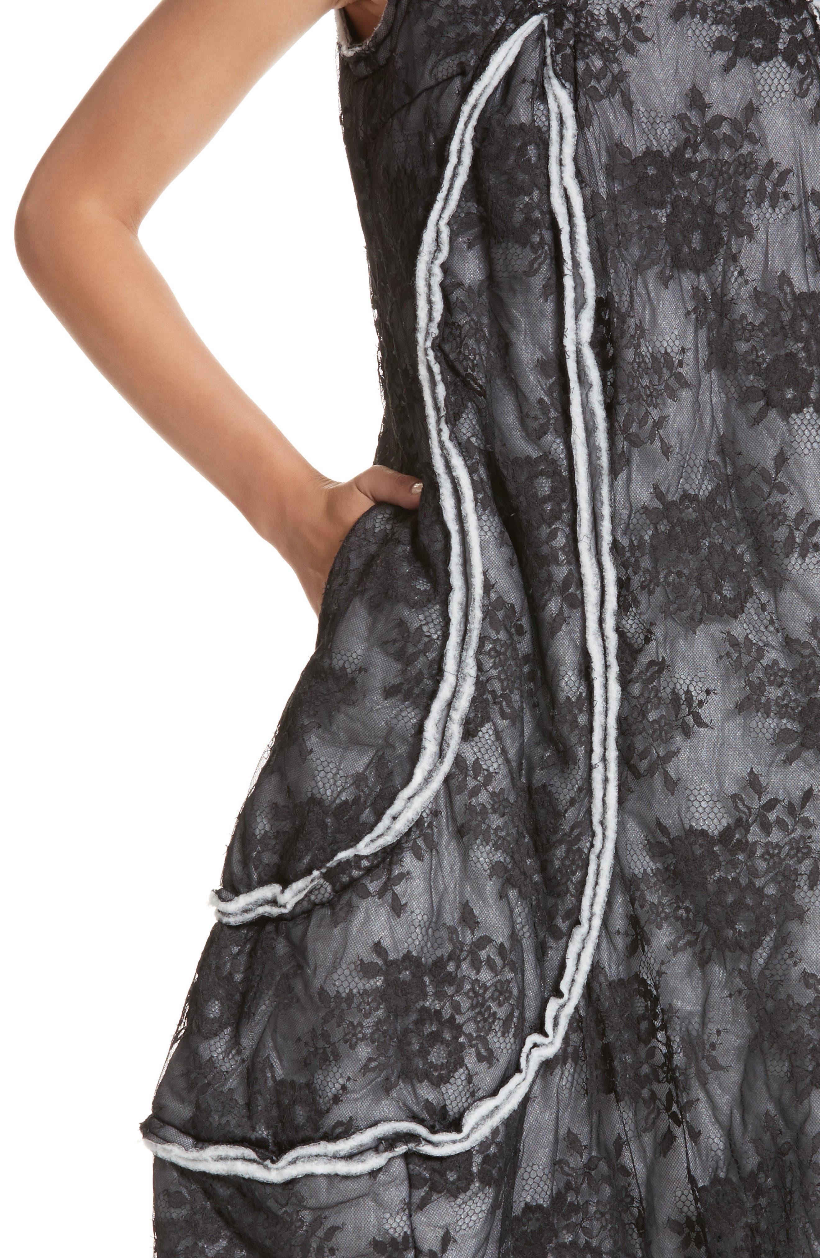 Floral Dress,                             Alternate thumbnail 4, color,                             Black/ Off White