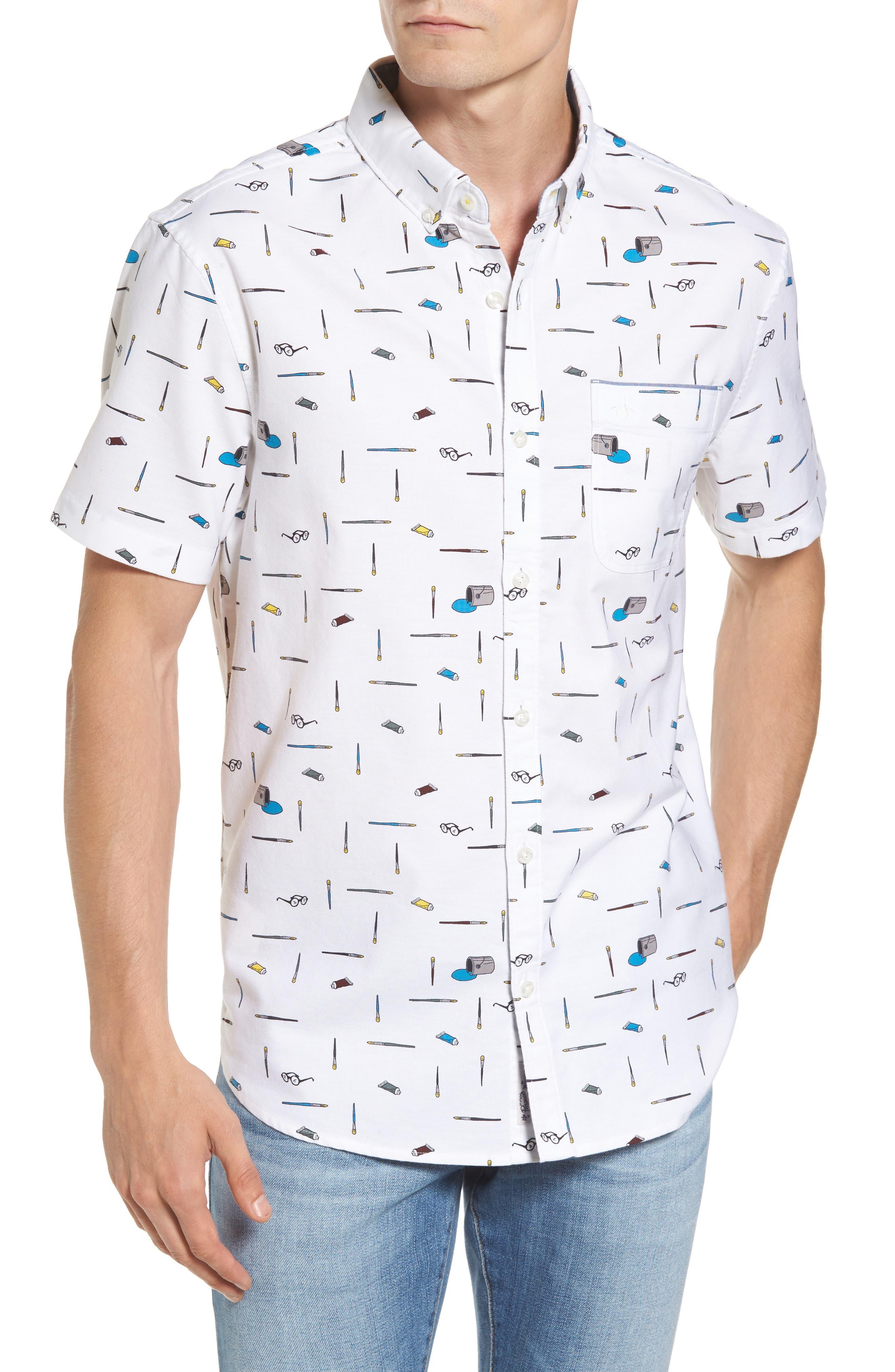Paintbrush Pattern Woven Shirt,                             Main thumbnail 1, color,                             Bright White
