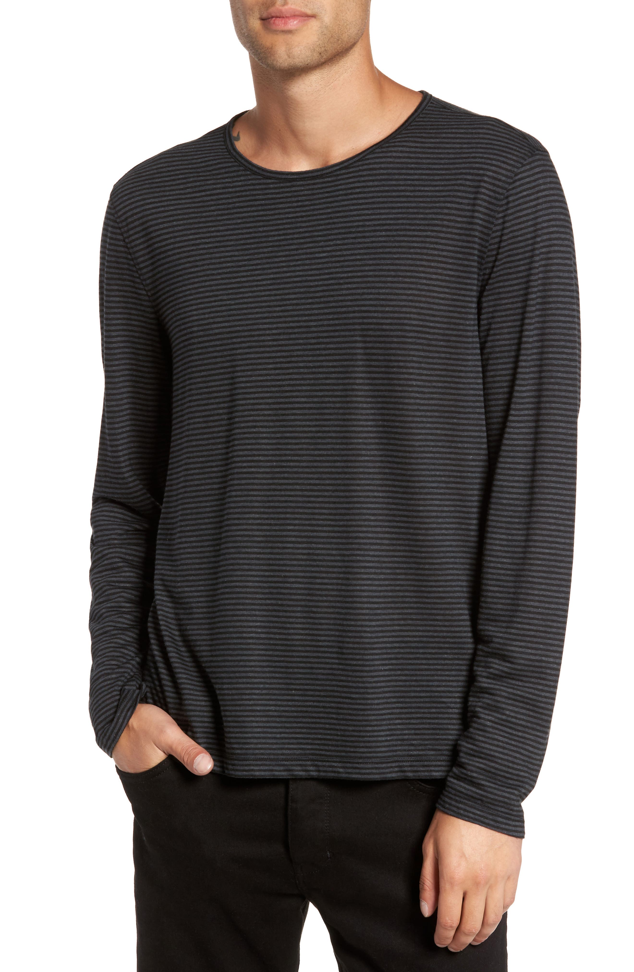 Stripe Long Sleeve T-Shirt,                         Main,                         color, Black