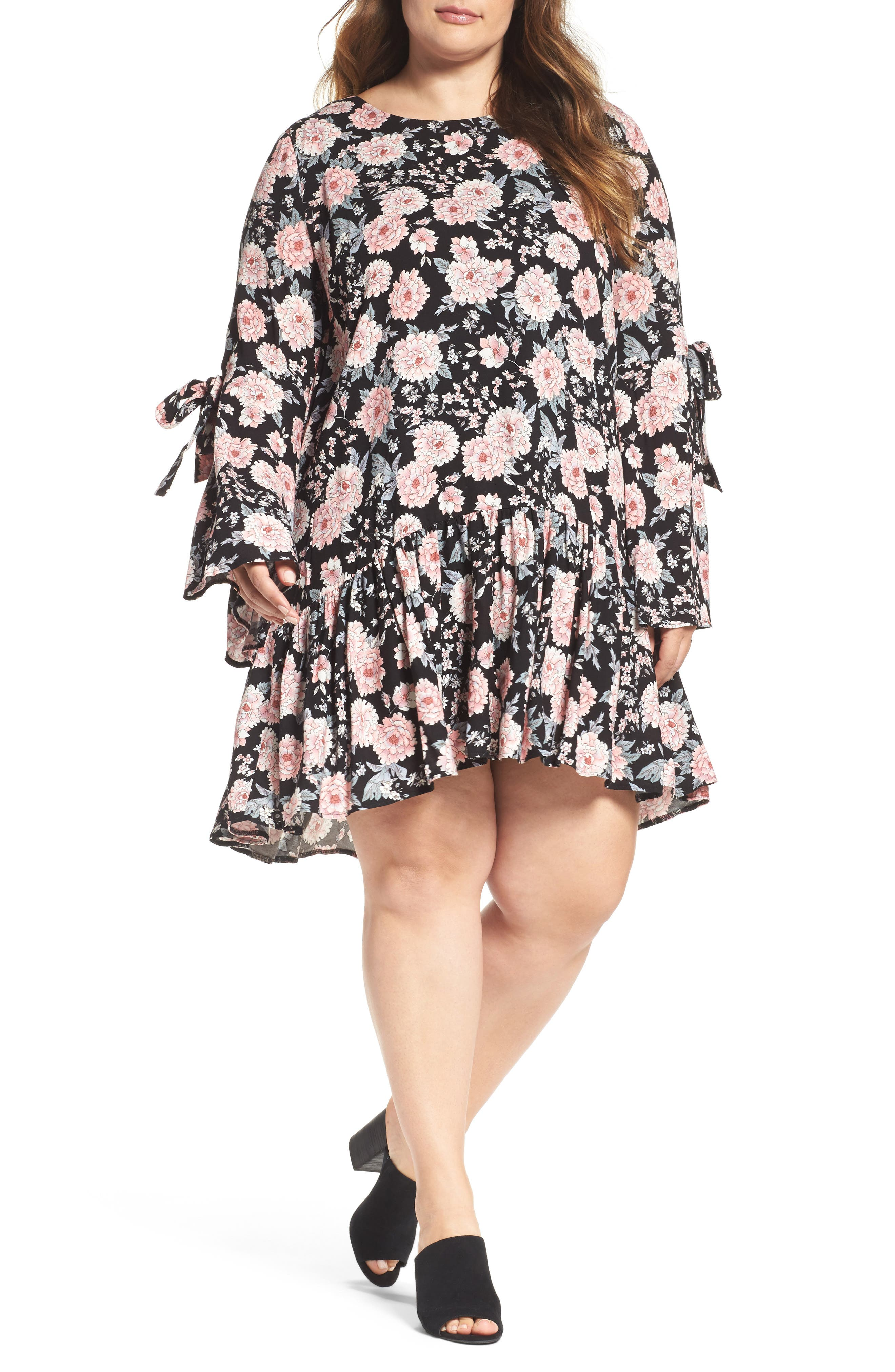 Alternate Image 1 Selected - Glamorous Drop Waist Bell Sleeve Shift Dress (Plus Size)