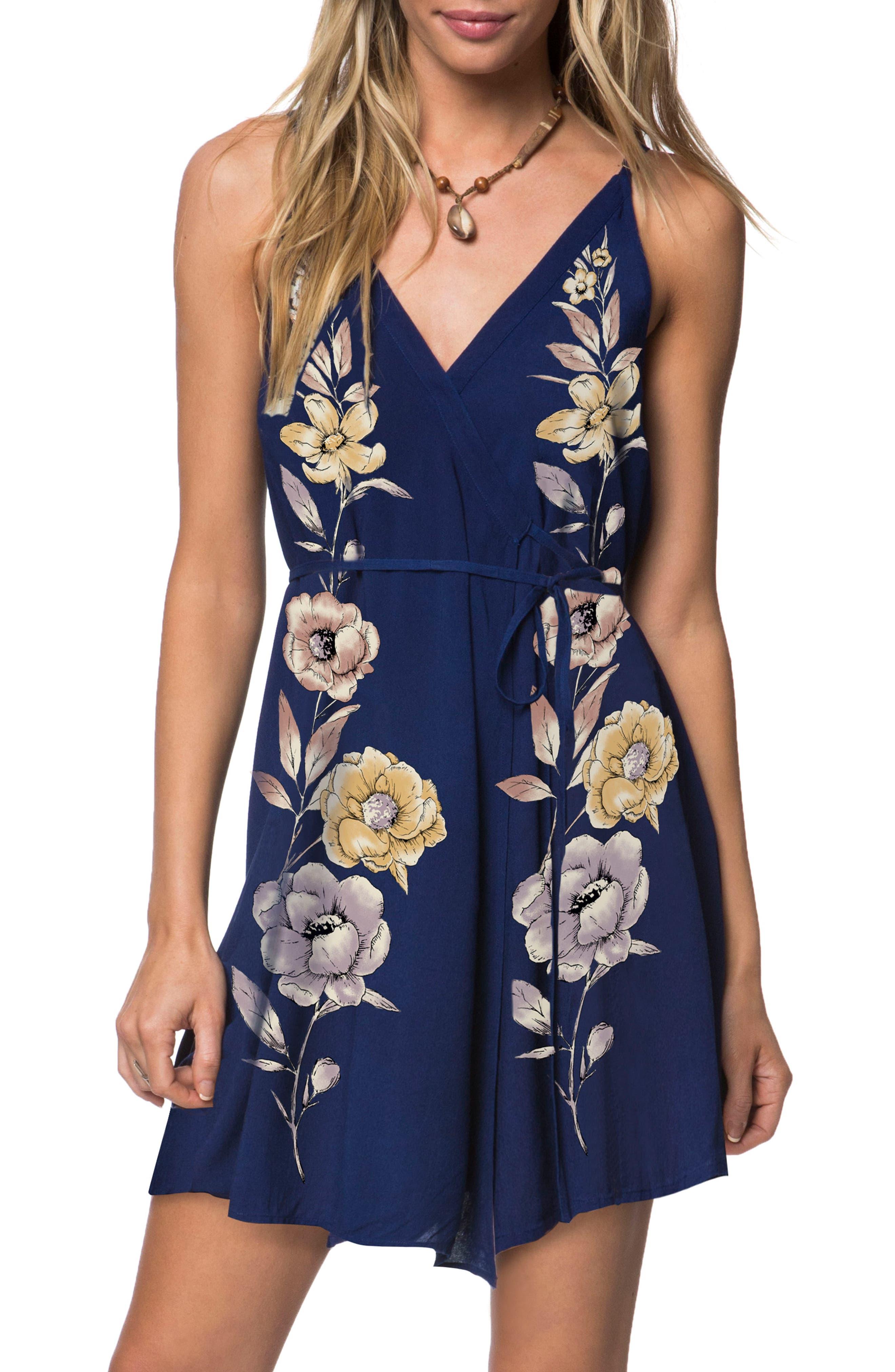 Shawnie Floral Print Woven Dress,                         Main,                         color, Deep Blue