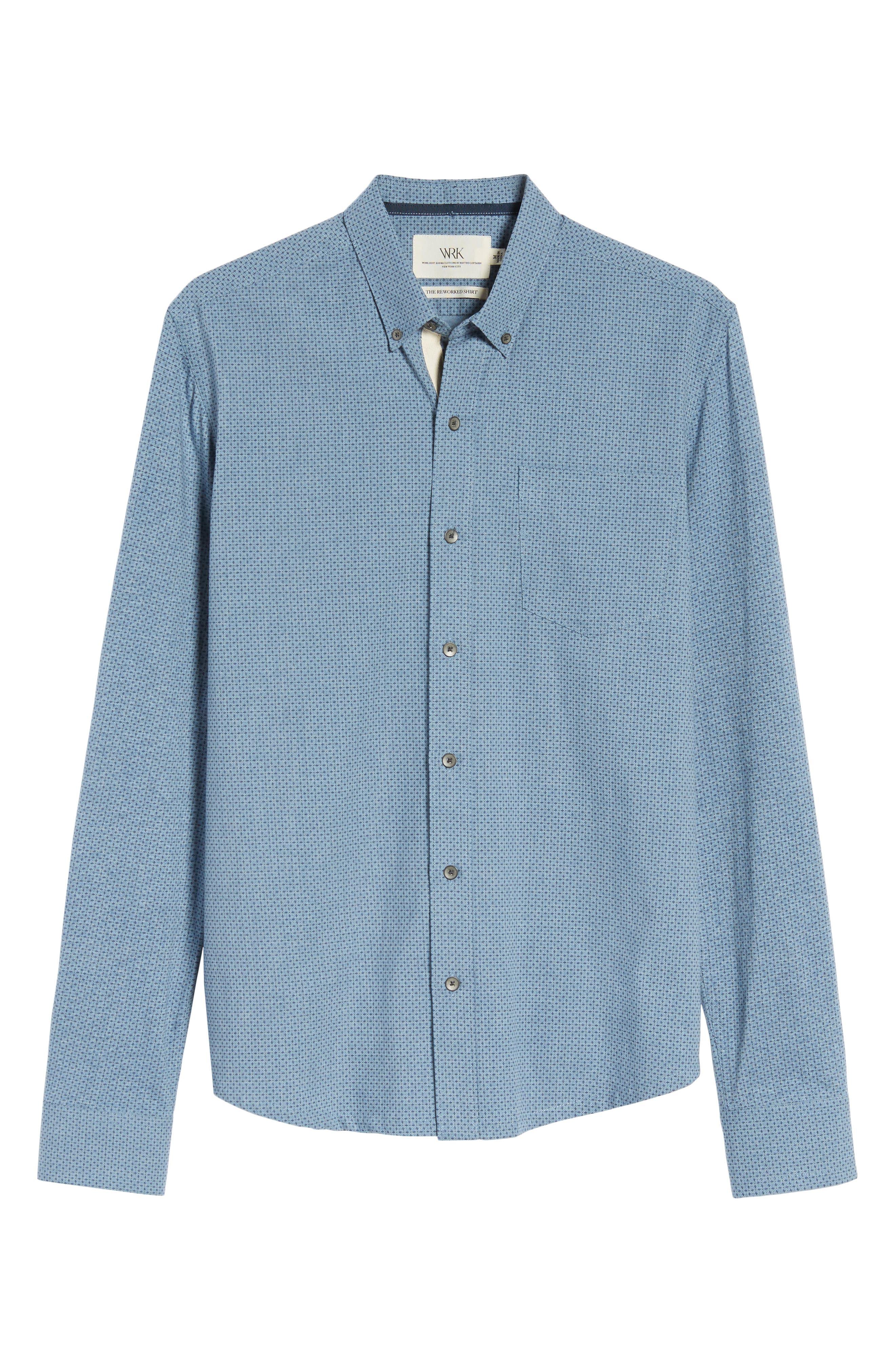 Reworked Patterned Sport Shirt,                             Alternate thumbnail 5, color,                             Blue