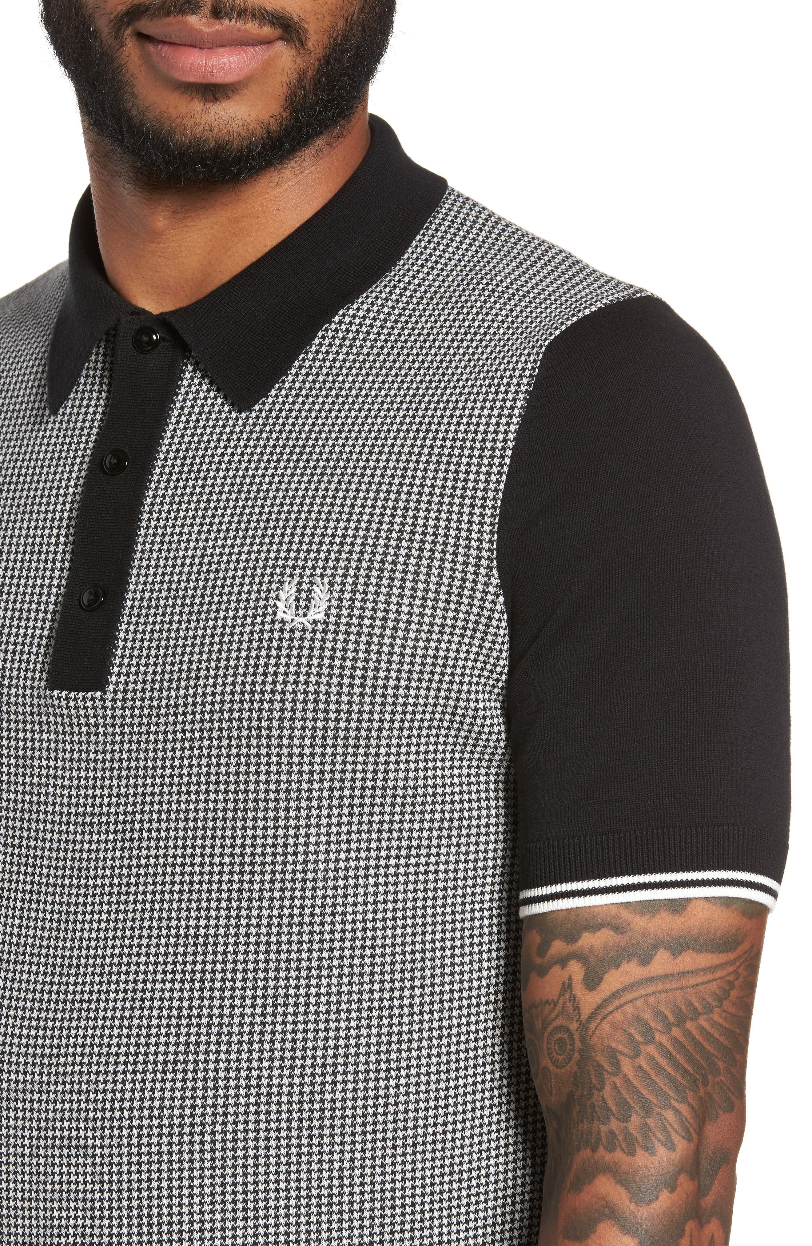 Houndstooth Knit Polo,                             Alternate thumbnail 4, color,                             Black