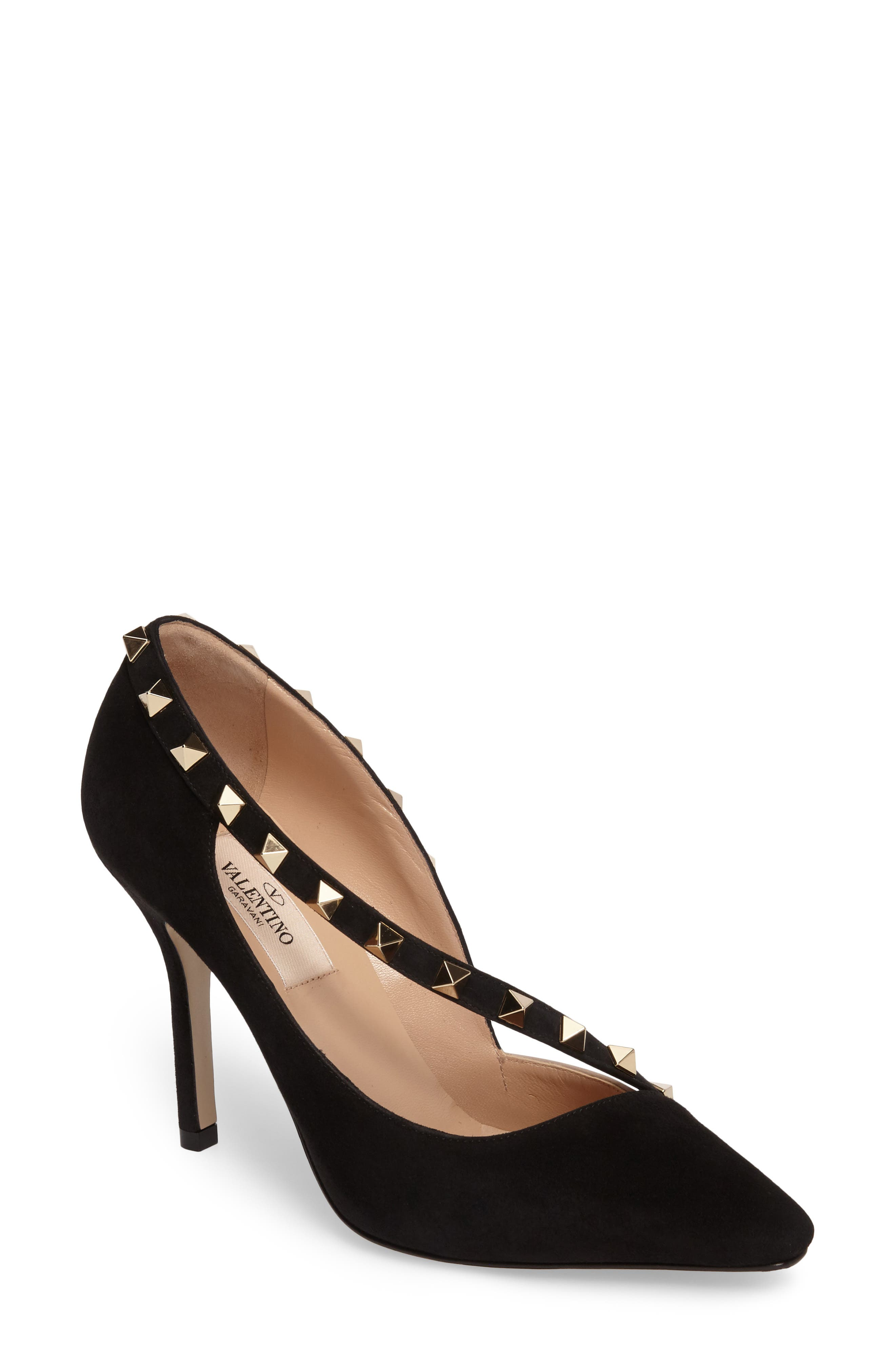 Rockstud d'Orsay Pump,                         Main,                         color, Black Suede