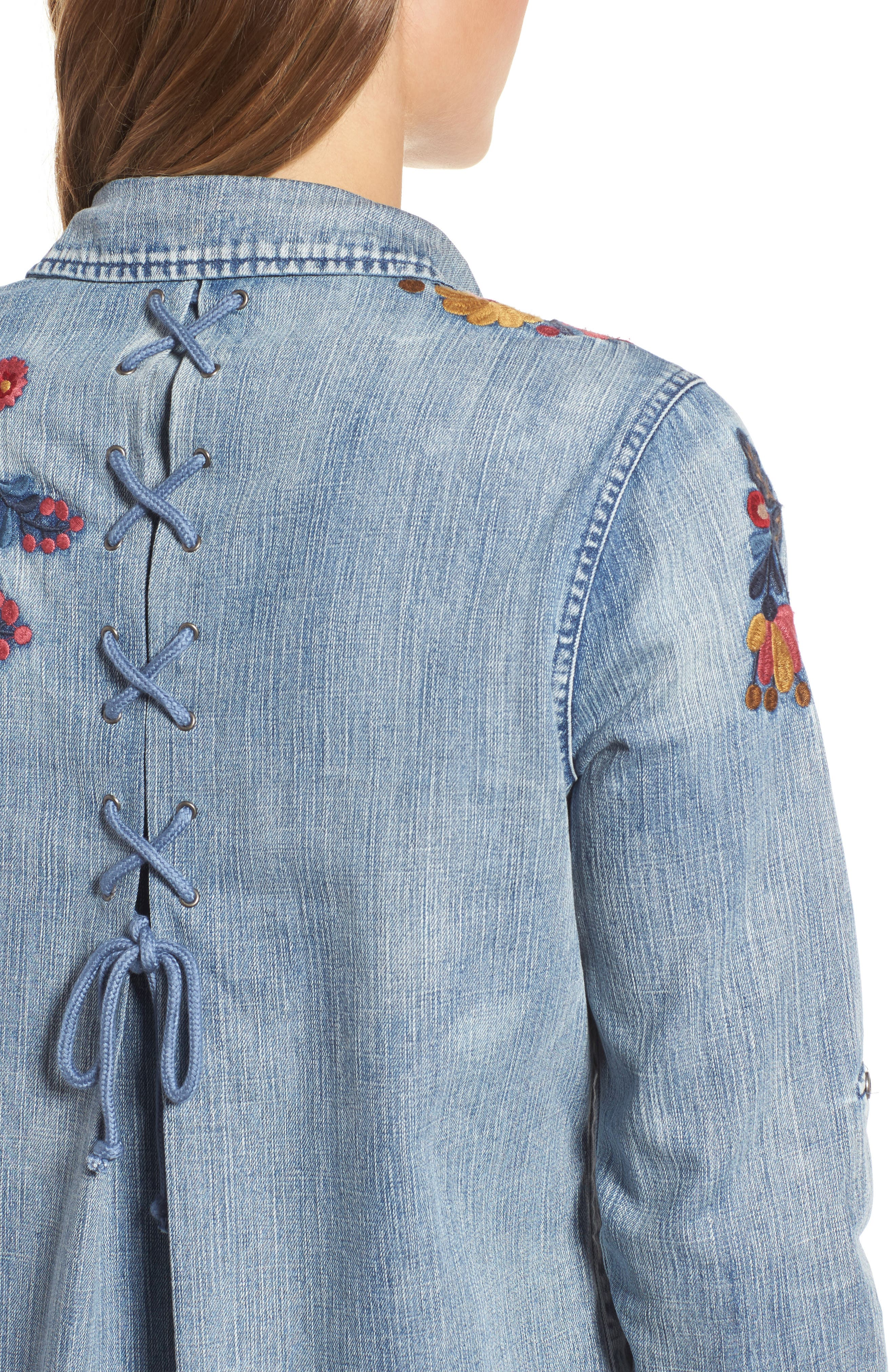 Alternate Image 4  - Billy T Roll Sleeve Embroidered Shirt