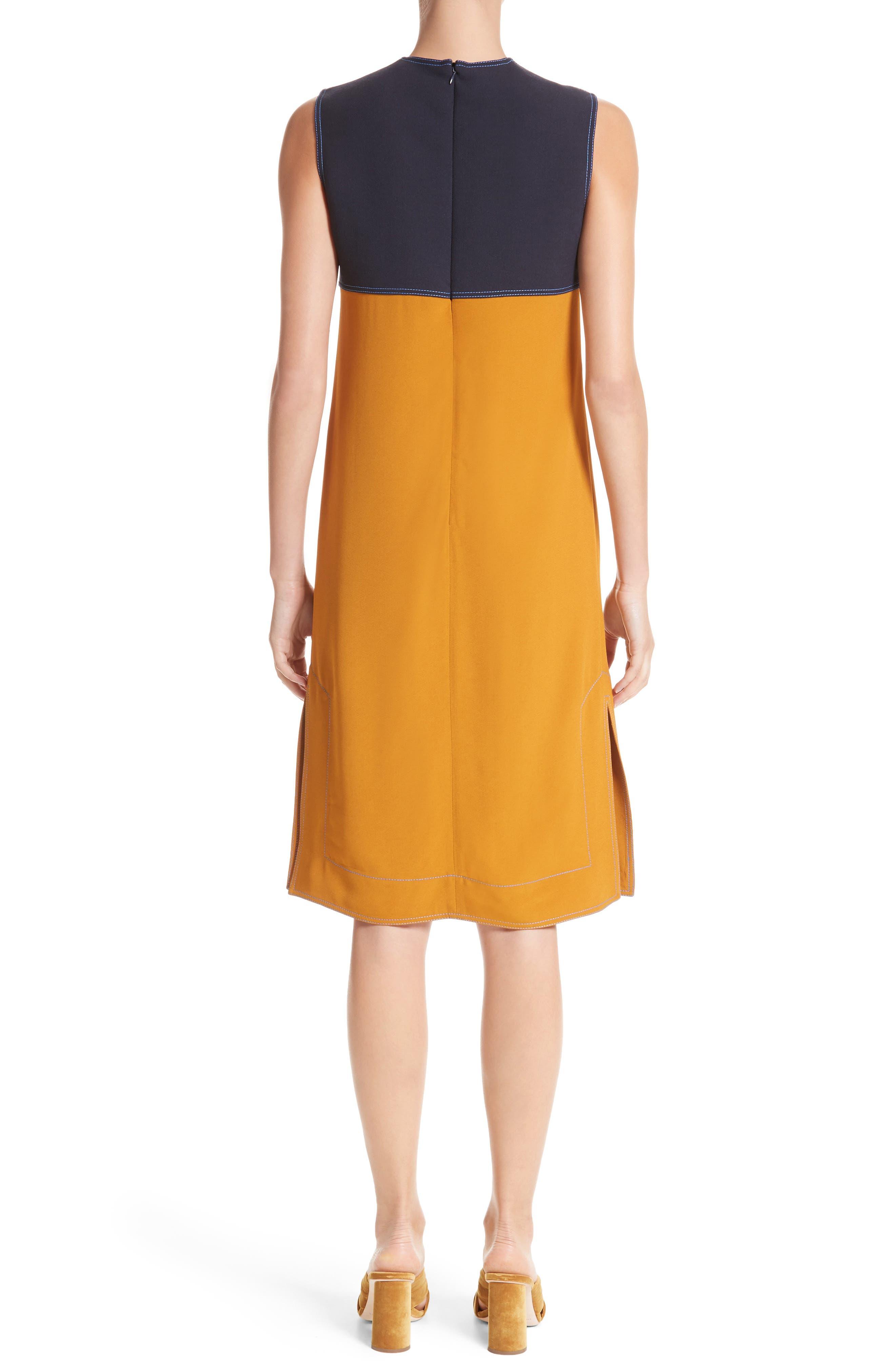 Colorblock Double Face Crepe Dress,                             Alternate thumbnail 2, color,                             Black/ Blue