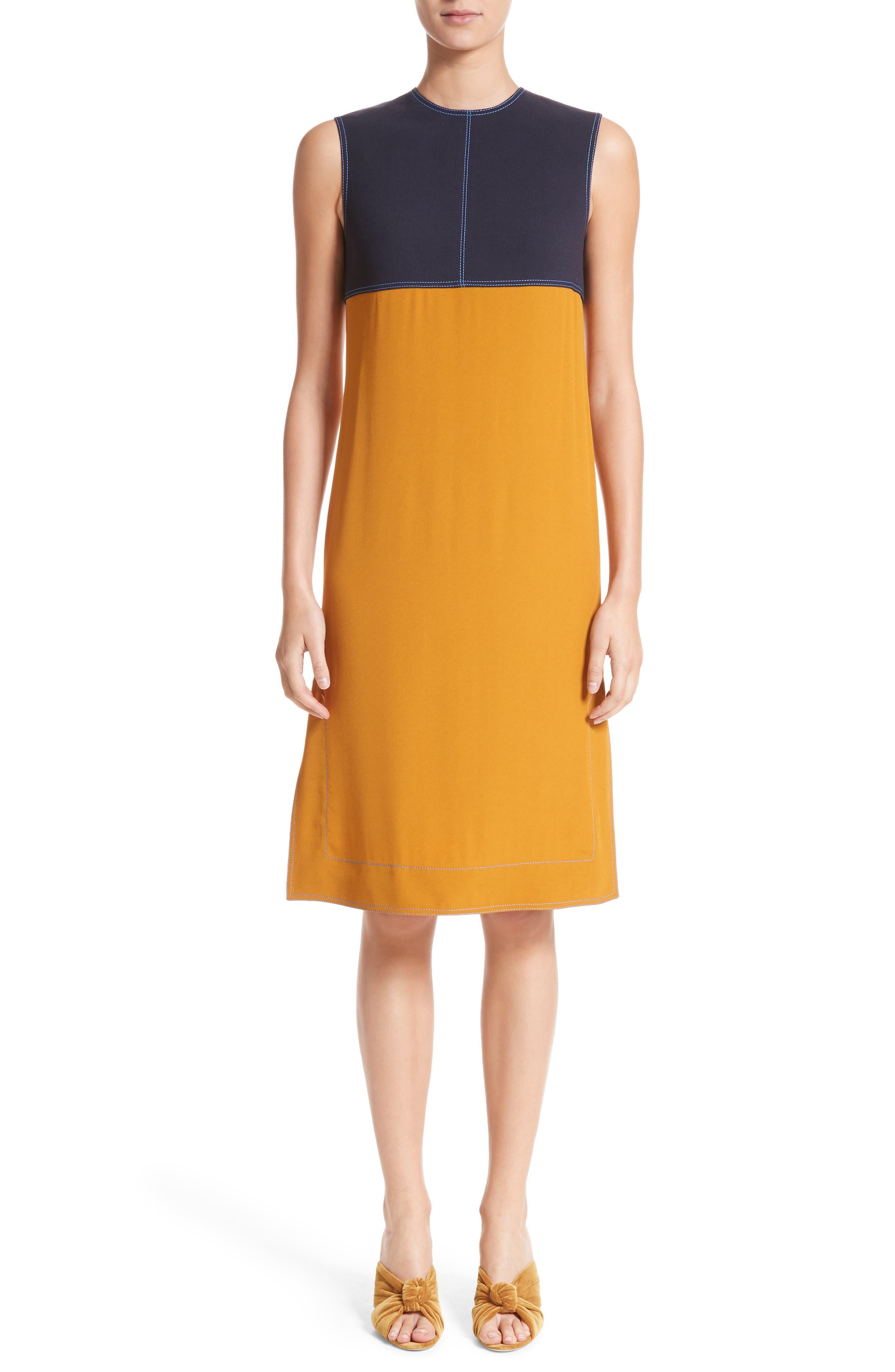 Colorblock Double Face Crepe Dress,                             Main thumbnail 1, color,                             Black/ Blue