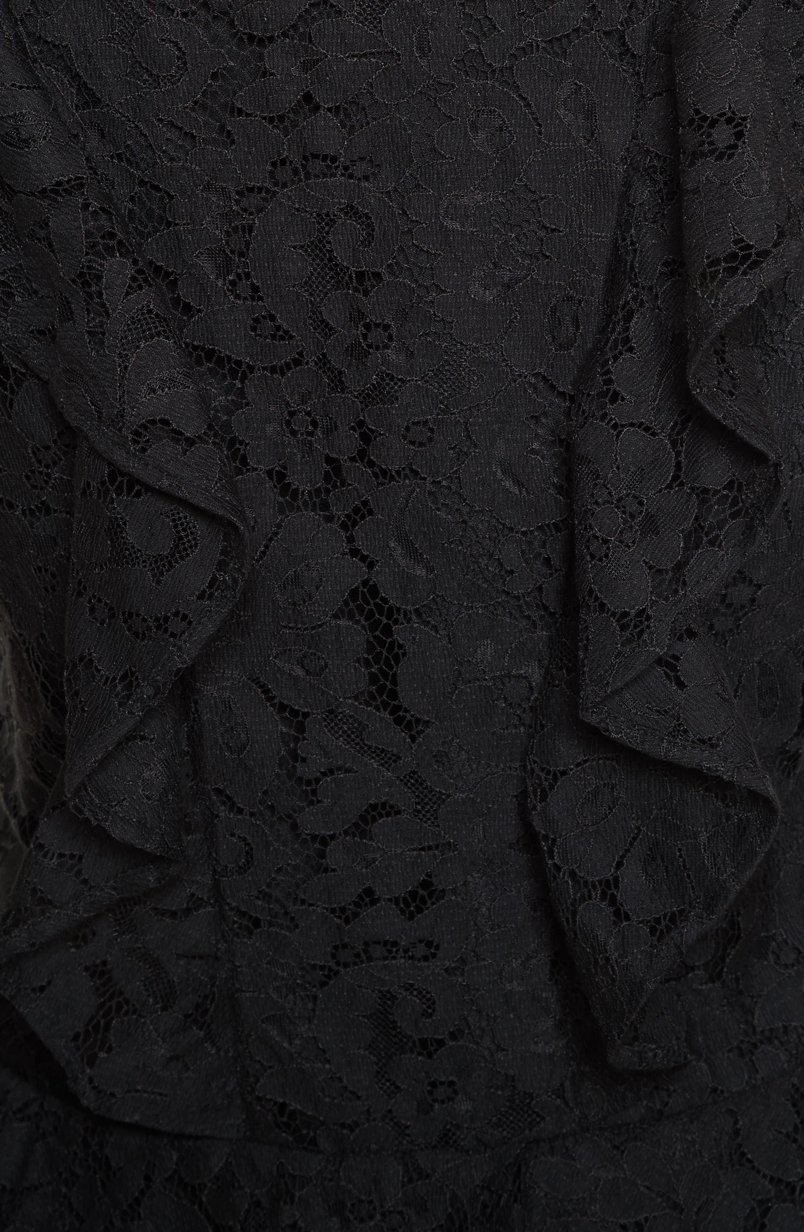 Acostas Ruffle & Lace Dress,                             Alternate thumbnail 5, color,                             Caviar