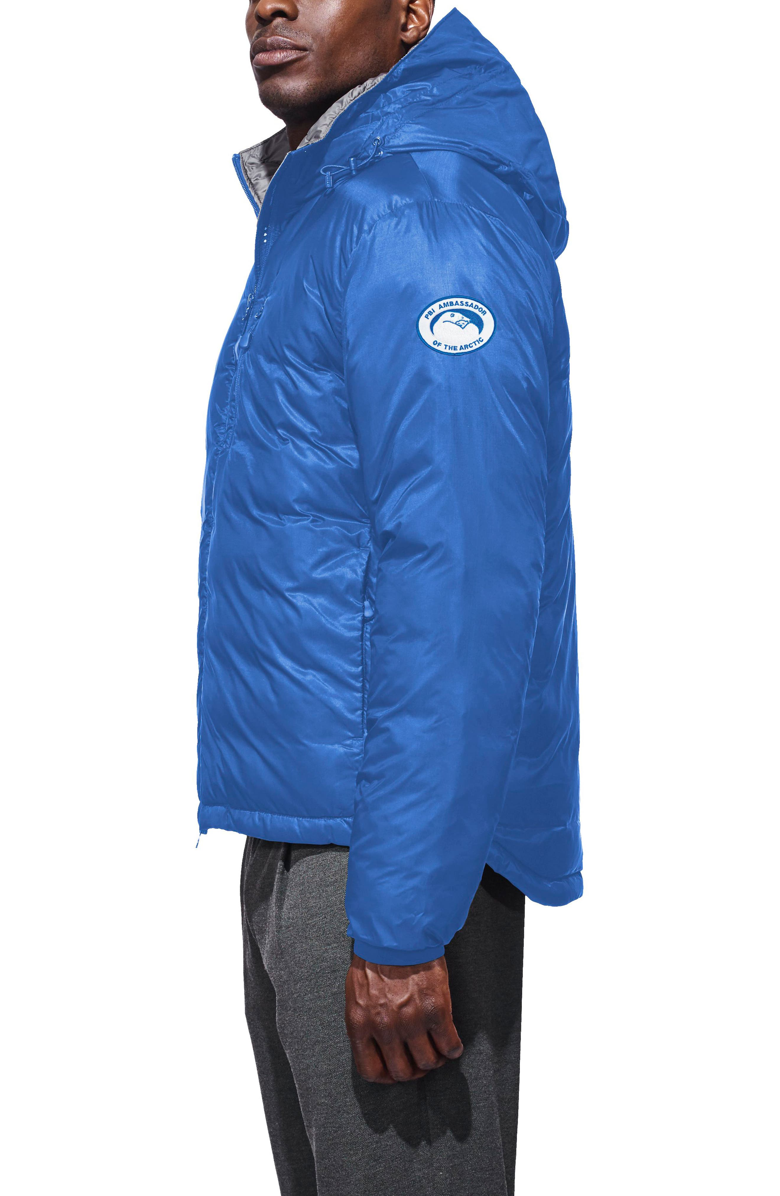 PBI Lodge Packable Down Hooded Jacket,                             Alternate thumbnail 3, color,                             Royal Blue