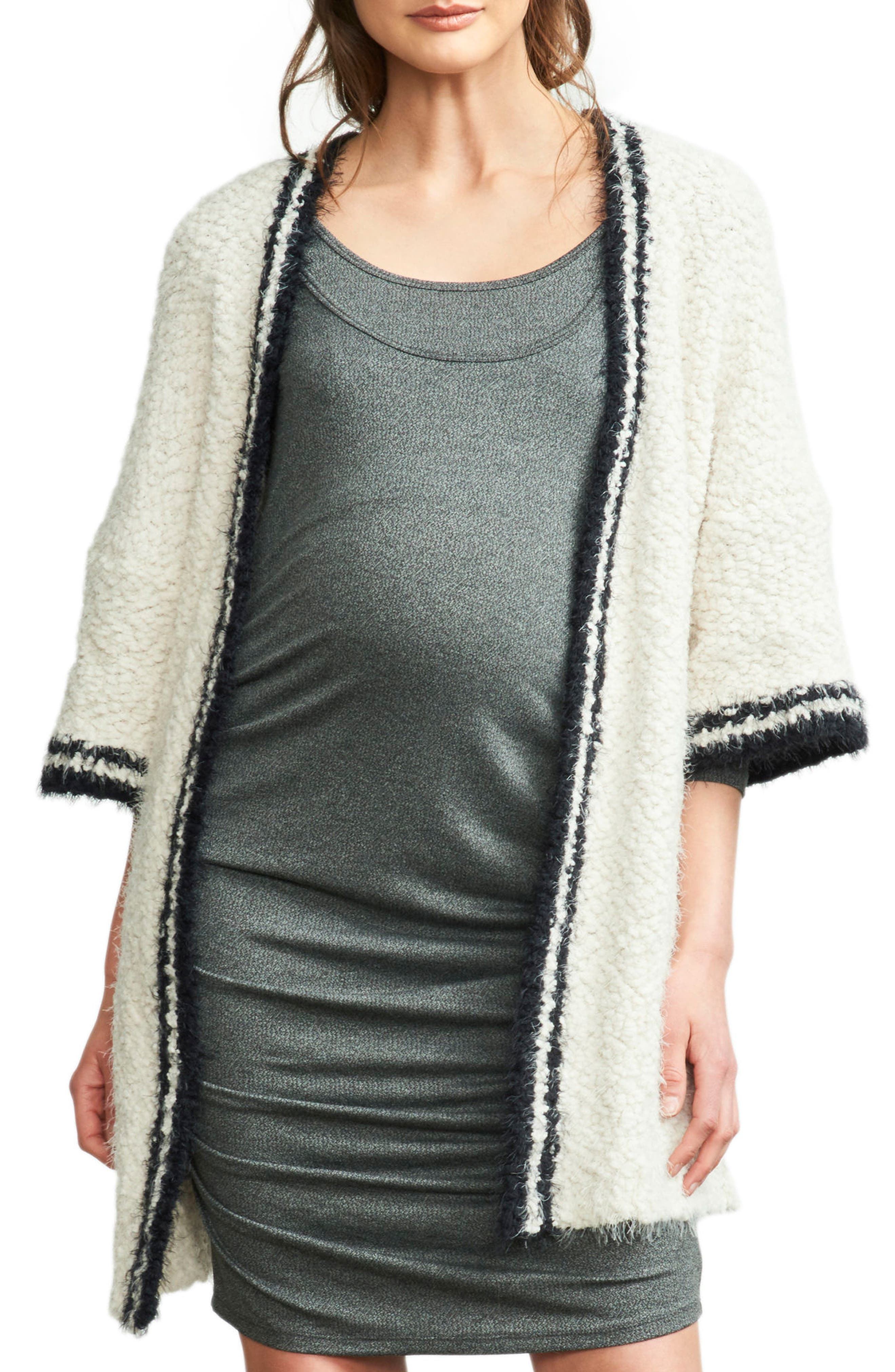 Tipped Open Front Maternity Cardigan,                         Main,                         color, Ivory