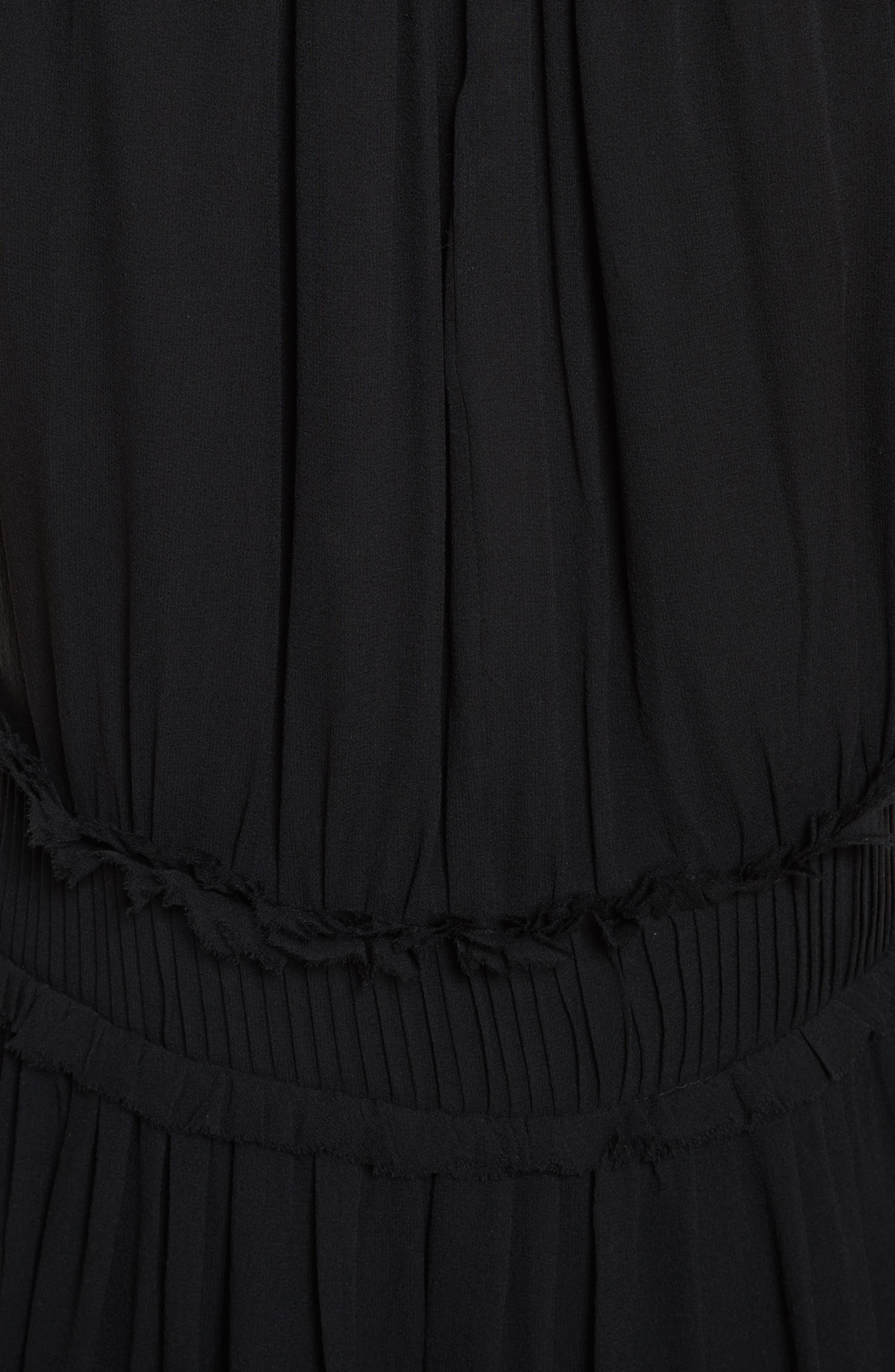 Althia Silk Dress,                             Alternate thumbnail 5, color,                             Caviar
