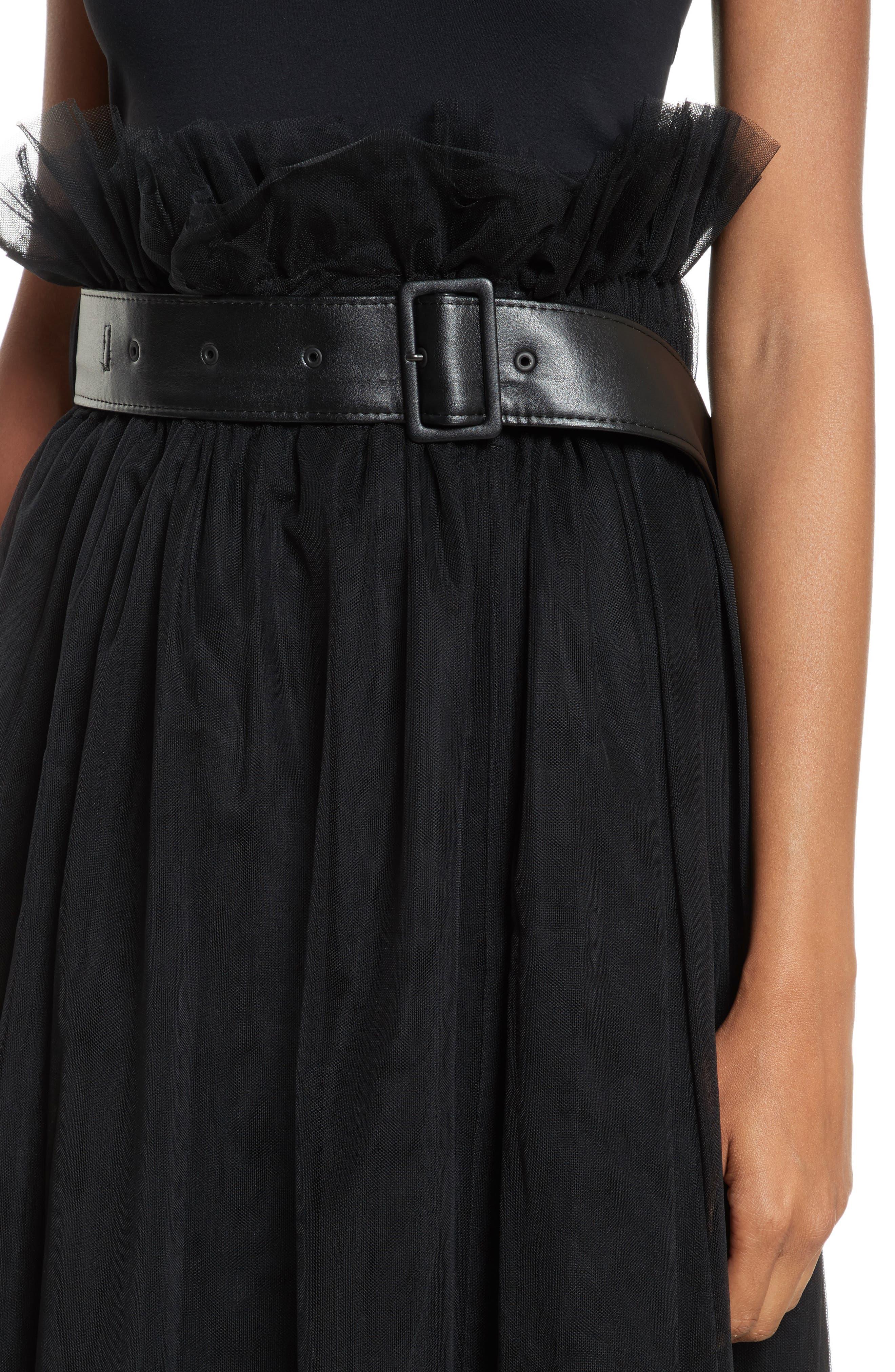 Tulle Midi Skirt,                             Alternate thumbnail 4, color,                             Black