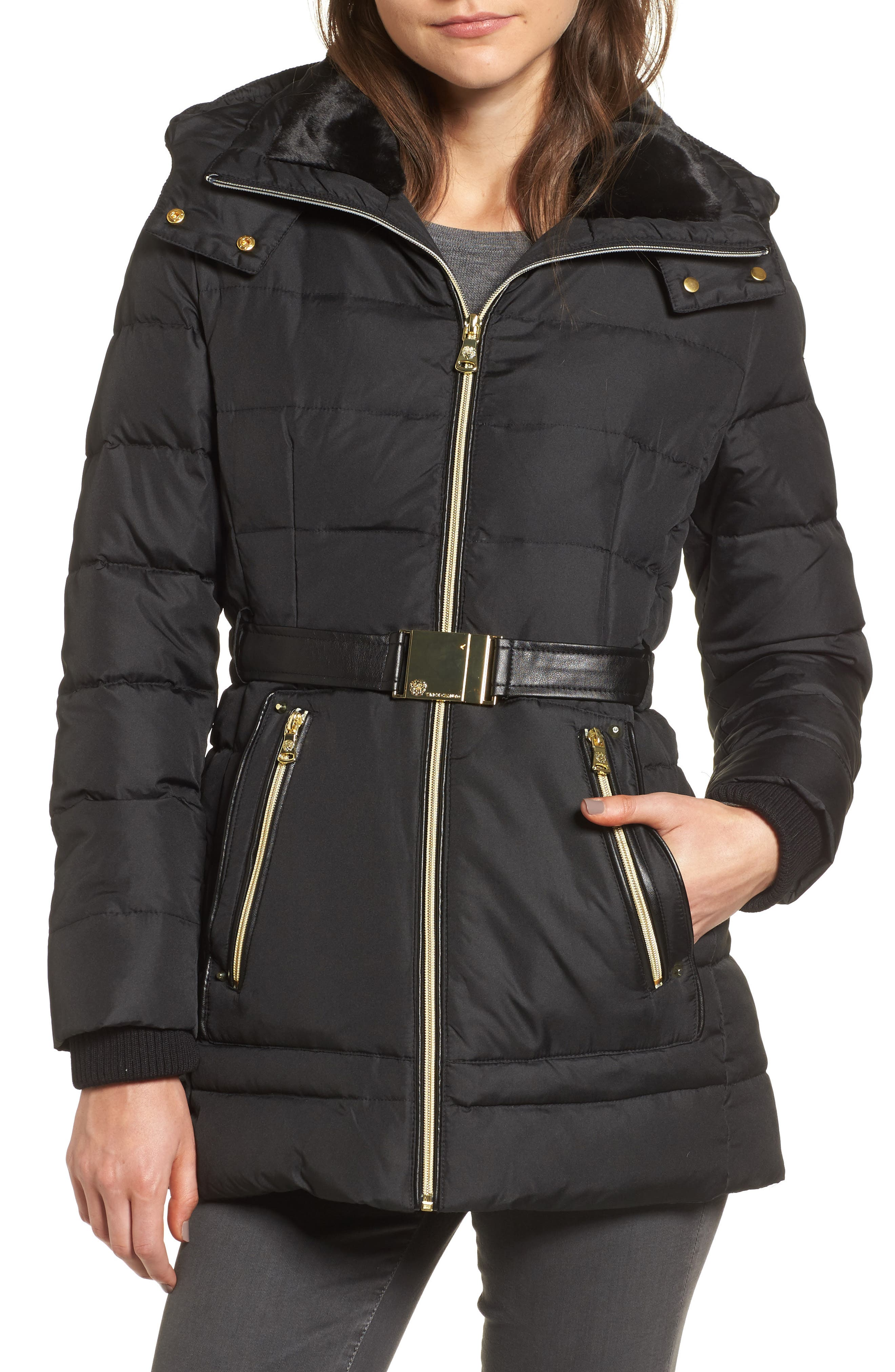 Belted Down & Feather Jacket with Faux Fur,                         Main,                         color, Black