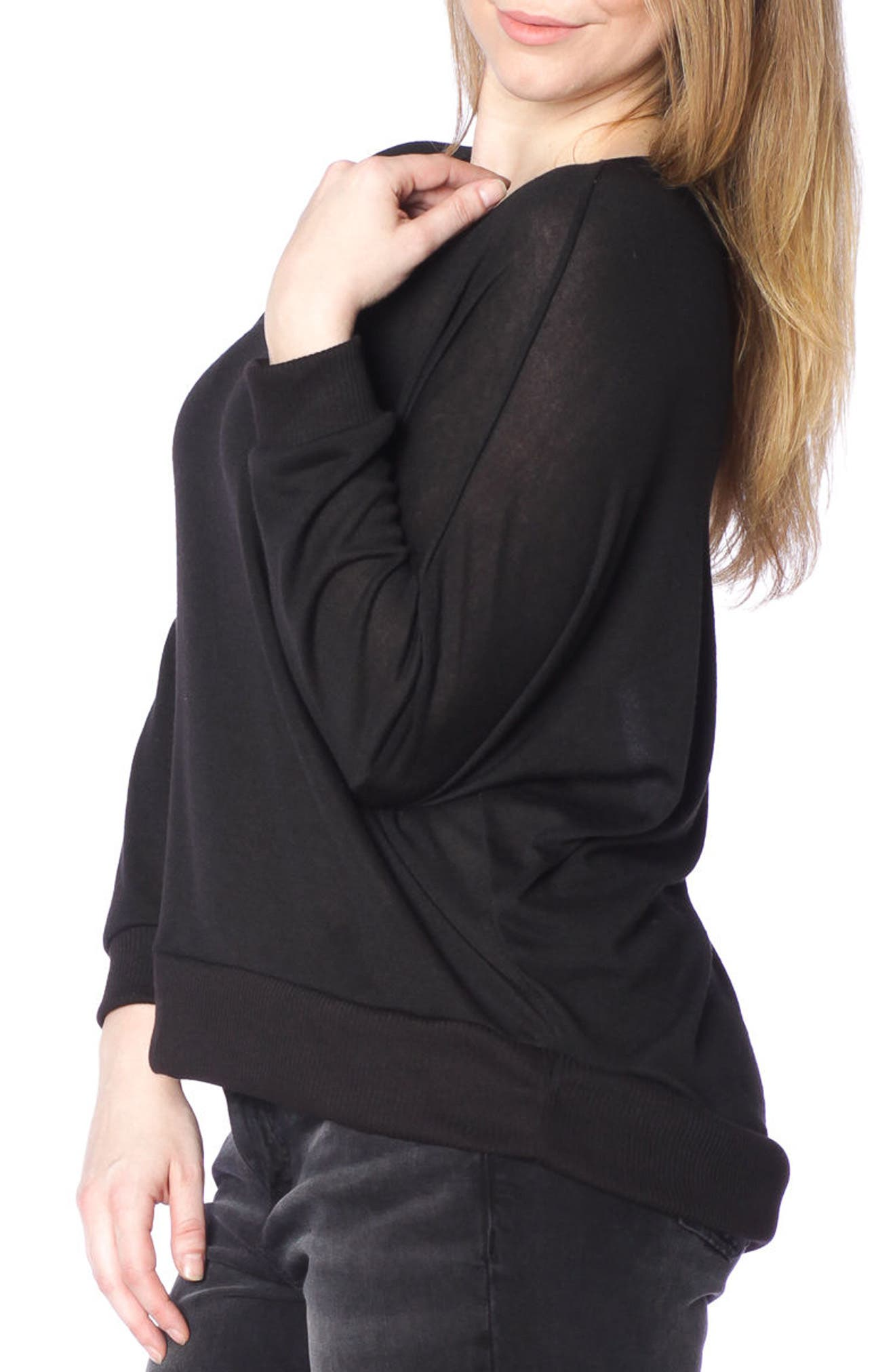 Dolman Sleeve Ribbed Pullover,                             Alternate thumbnail 3, color,                             Black