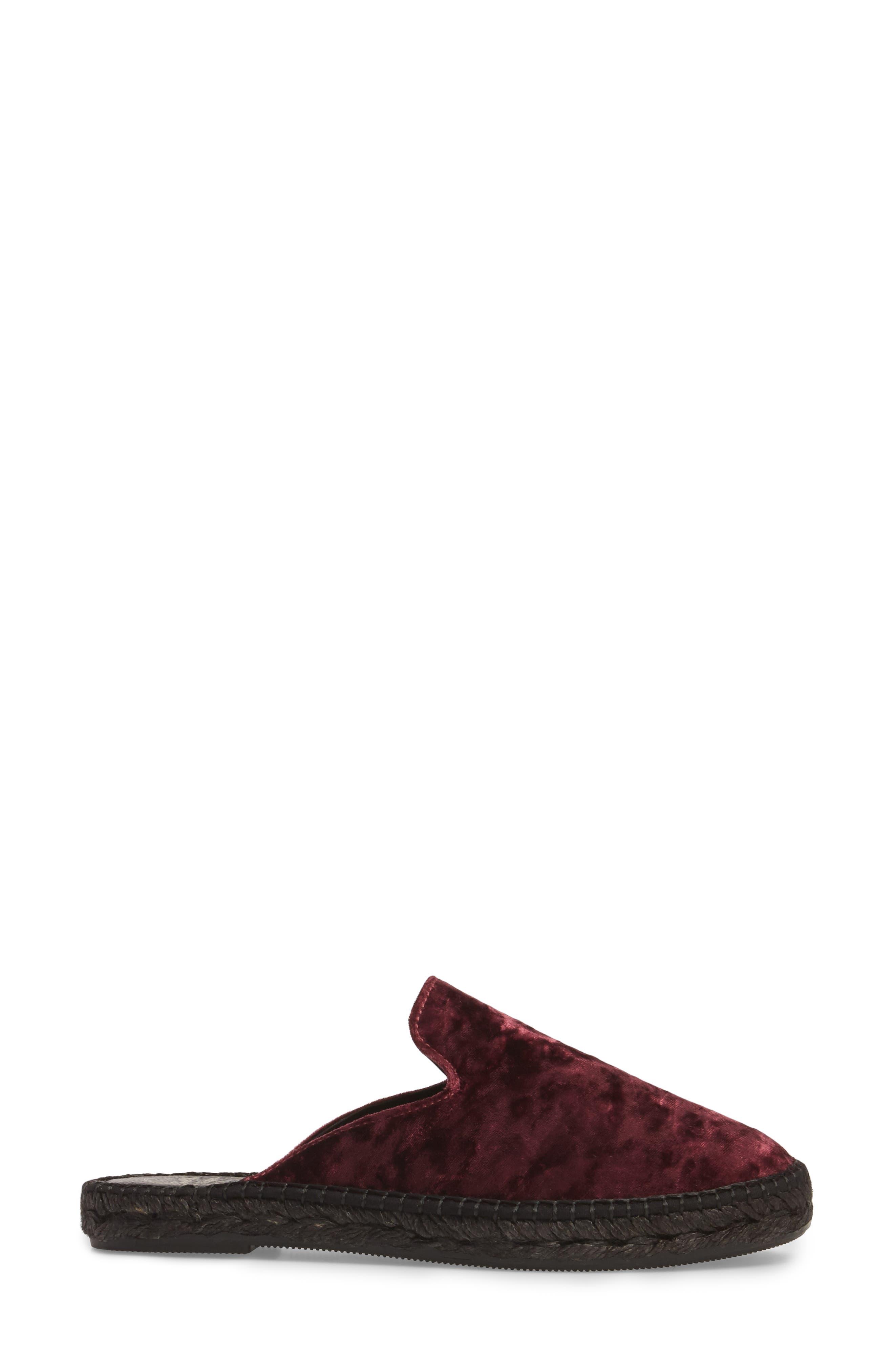 Malmo Espadrille Slipper Mule,                             Alternate thumbnail 3, color,                             Burgundy Velvet