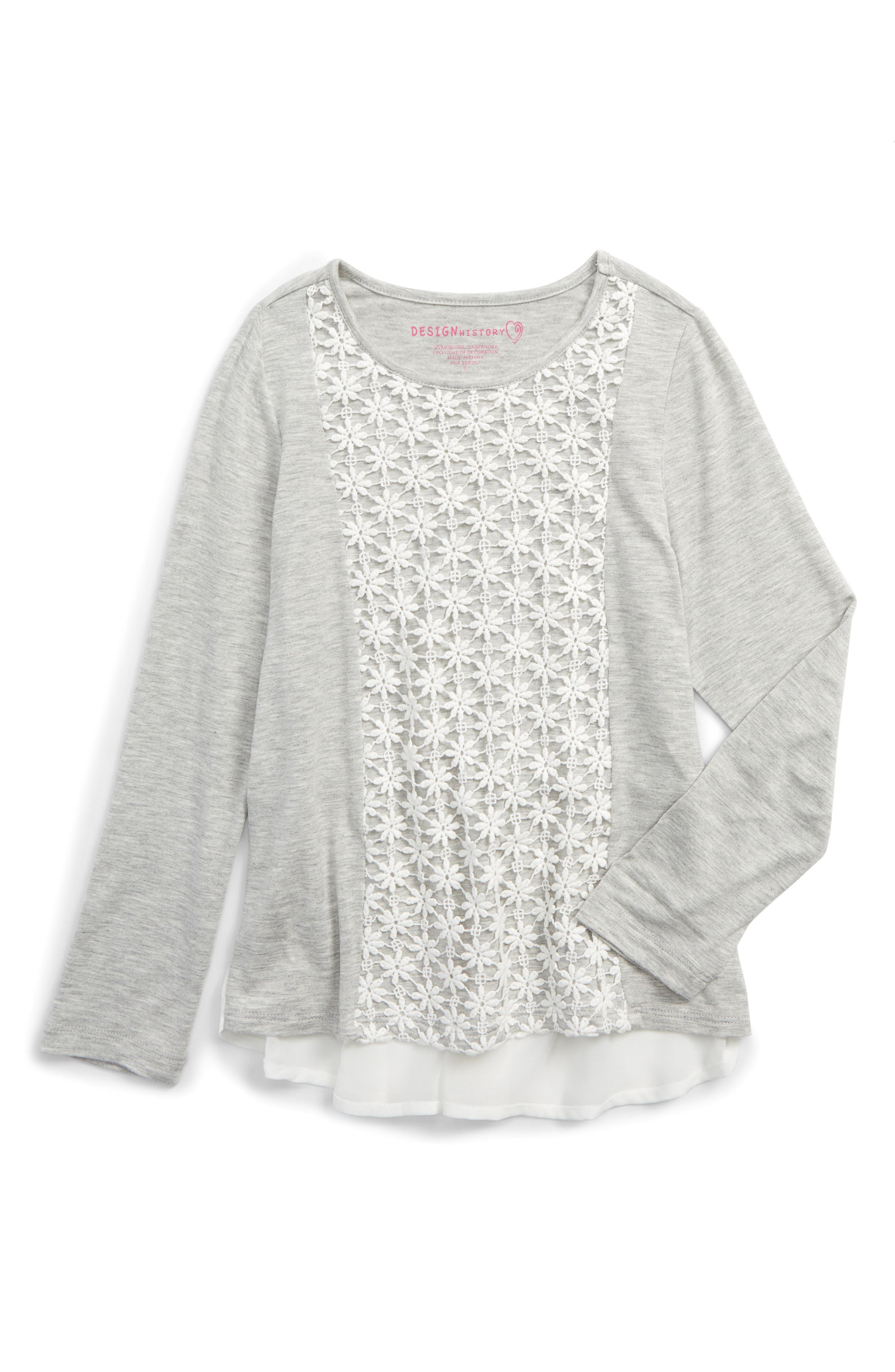 Pleated Back Tee,                             Main thumbnail 1, color,                             Marble Heather Grey