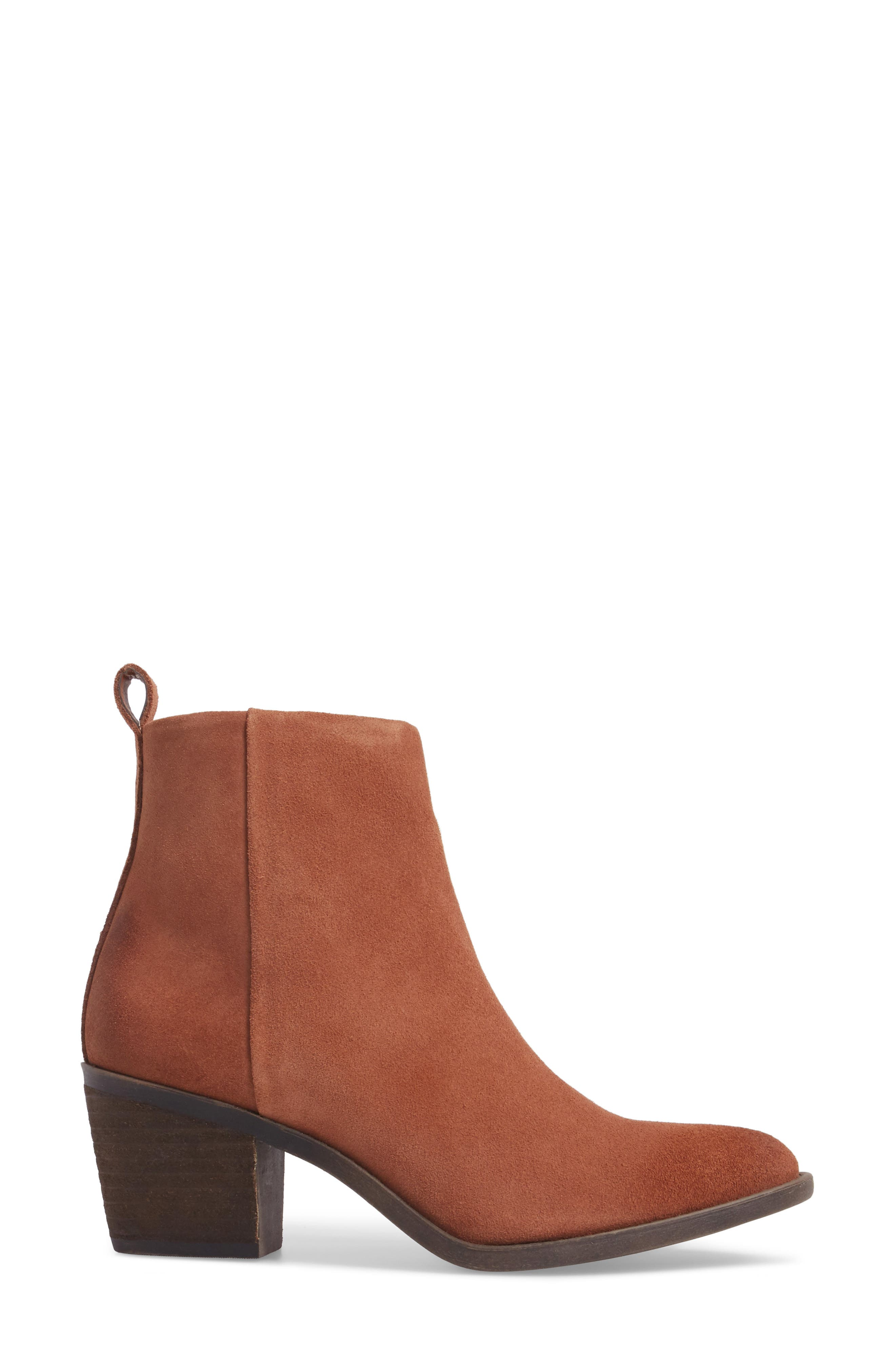 Natania Bootie,                             Alternate thumbnail 3, color,                             Toffee Suede