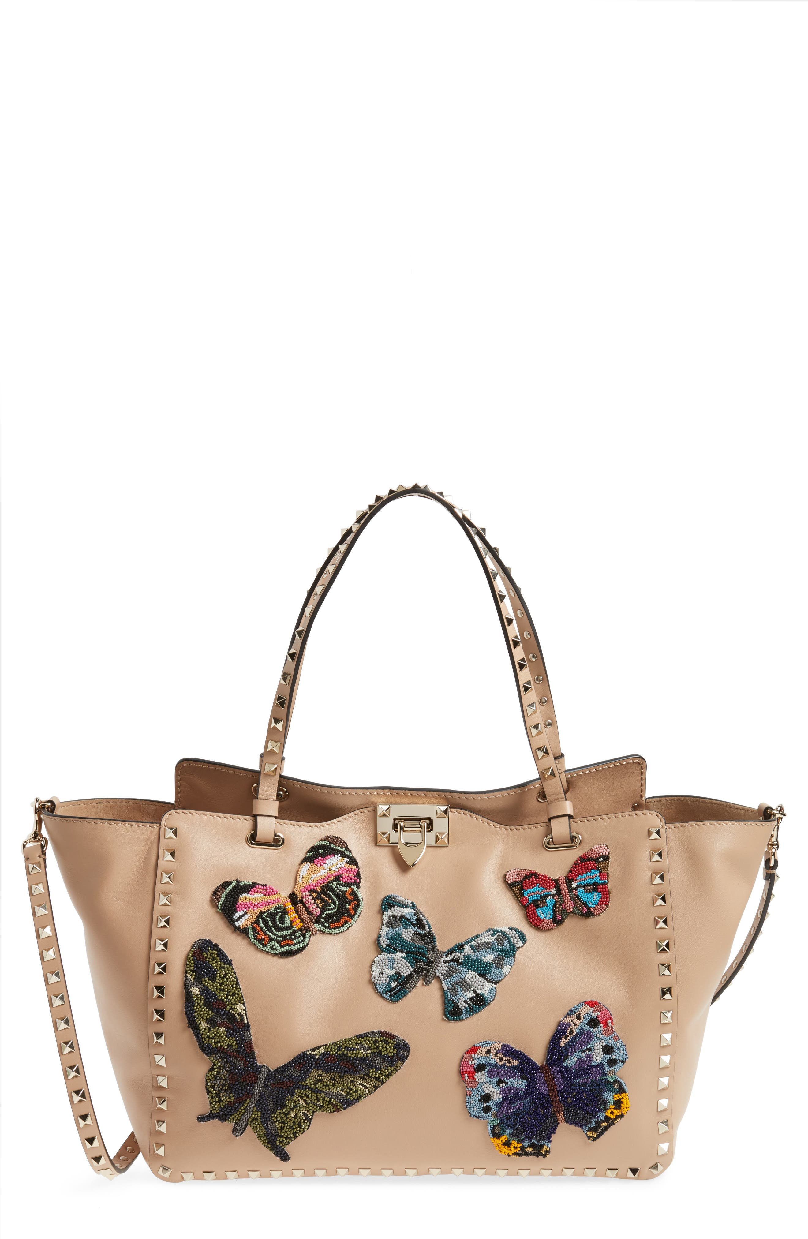 VALENTINO GARAVANI Medium Beaded Butterfly Leather Tote