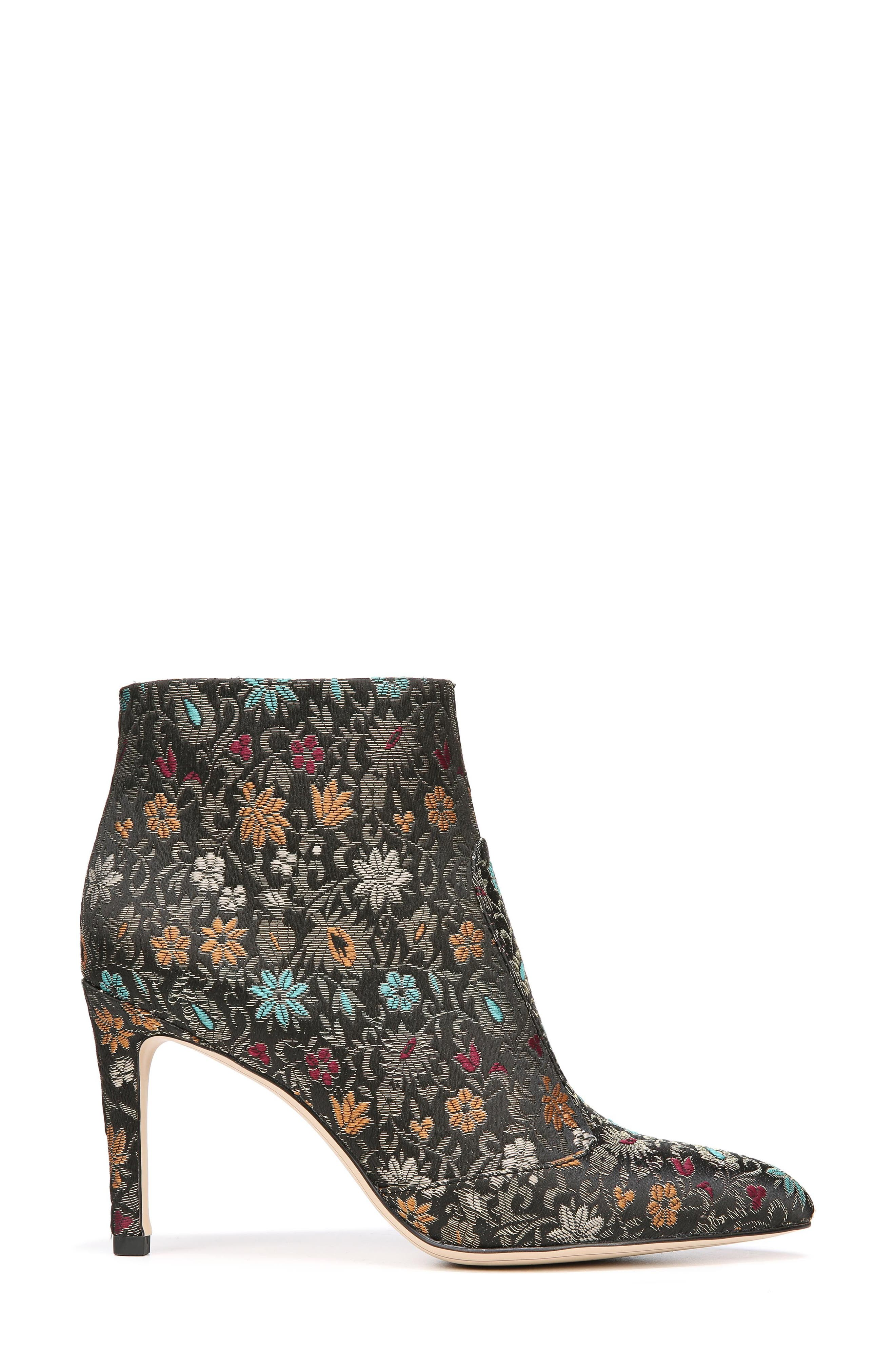 Olette Pointy Toe Bootie,                             Alternate thumbnail 4, color,                             Black Floral Brocade