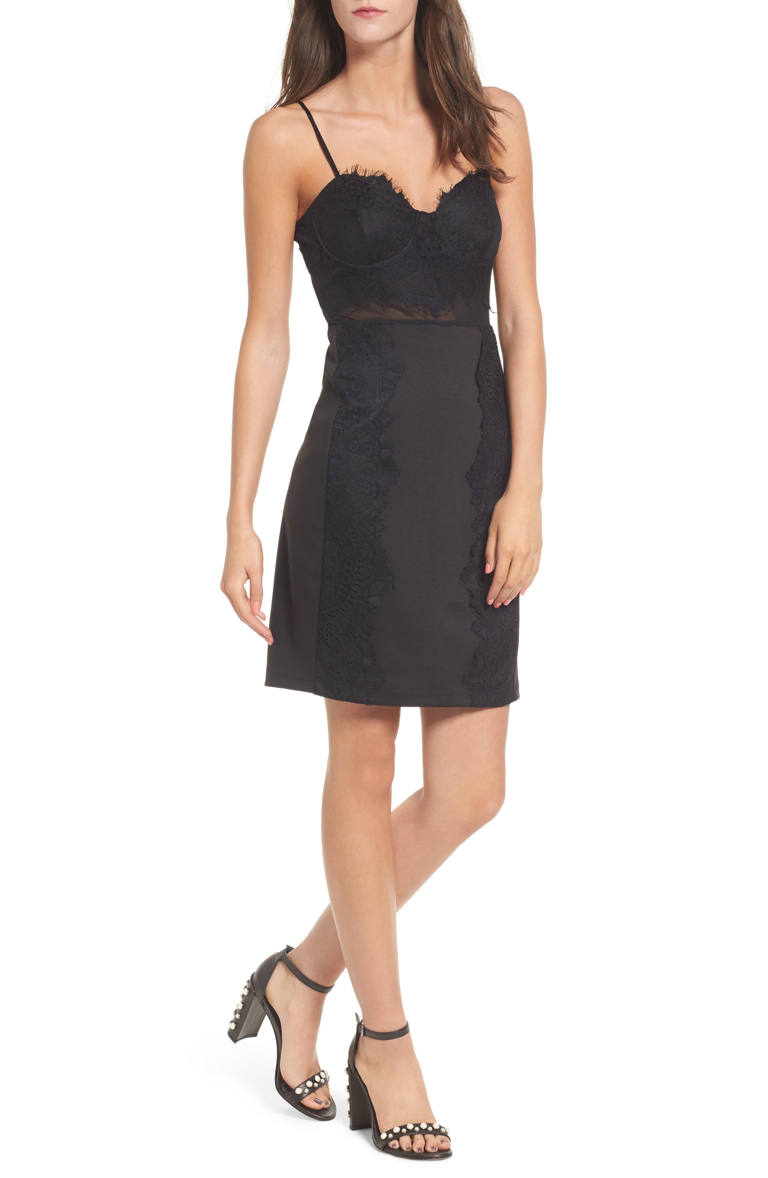 Bustier Mesh Lace Body-Con Dress,                         Main,                         color, Black