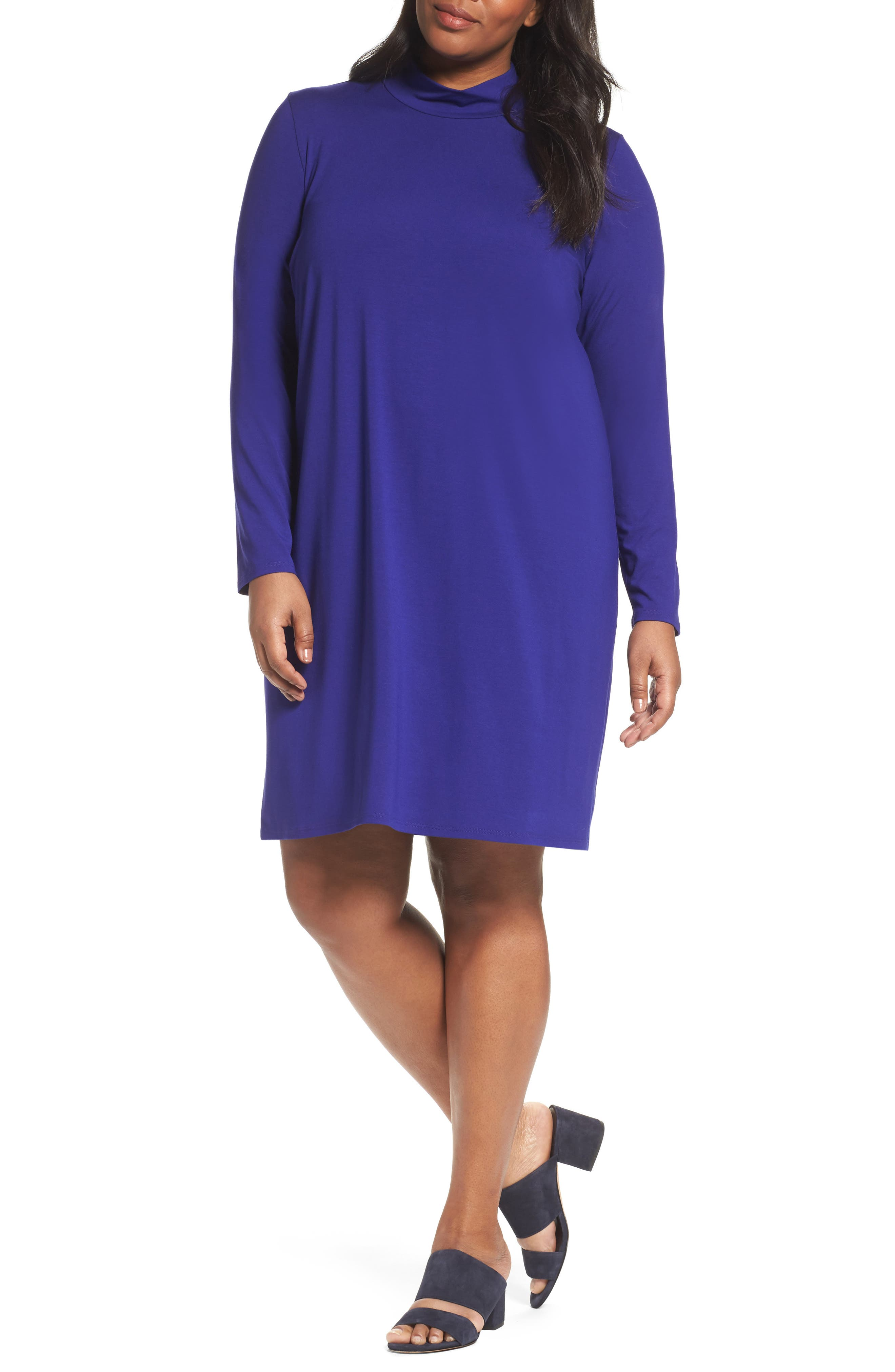 Alternate Image 1 Selected - Eileen Fisher Mock Neck Shift Dress (Plus Size)