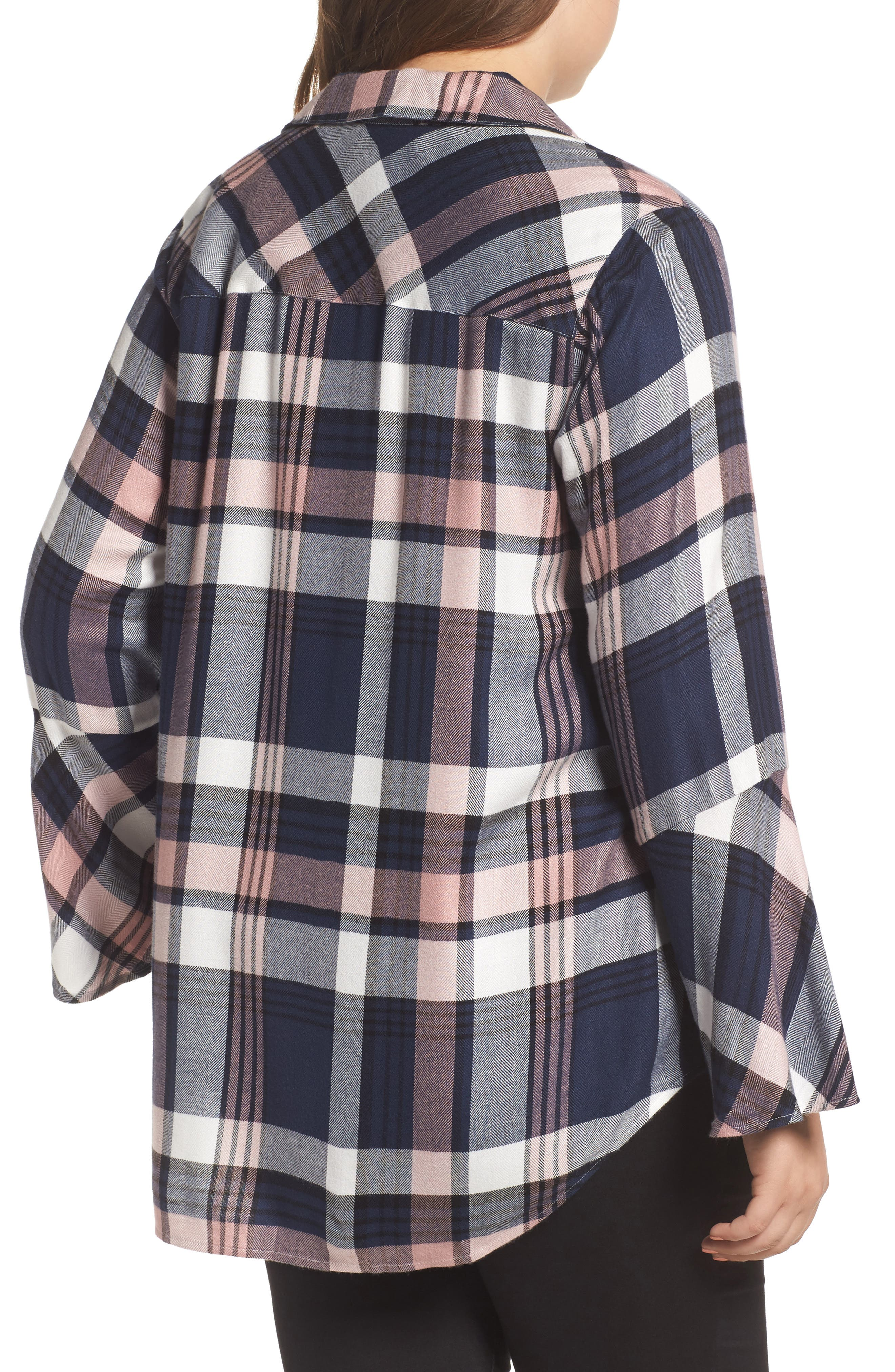 Alternate Image 2  - Two by Vince Camuto Plaid Bell Sleeve Shirt (Plus Size)