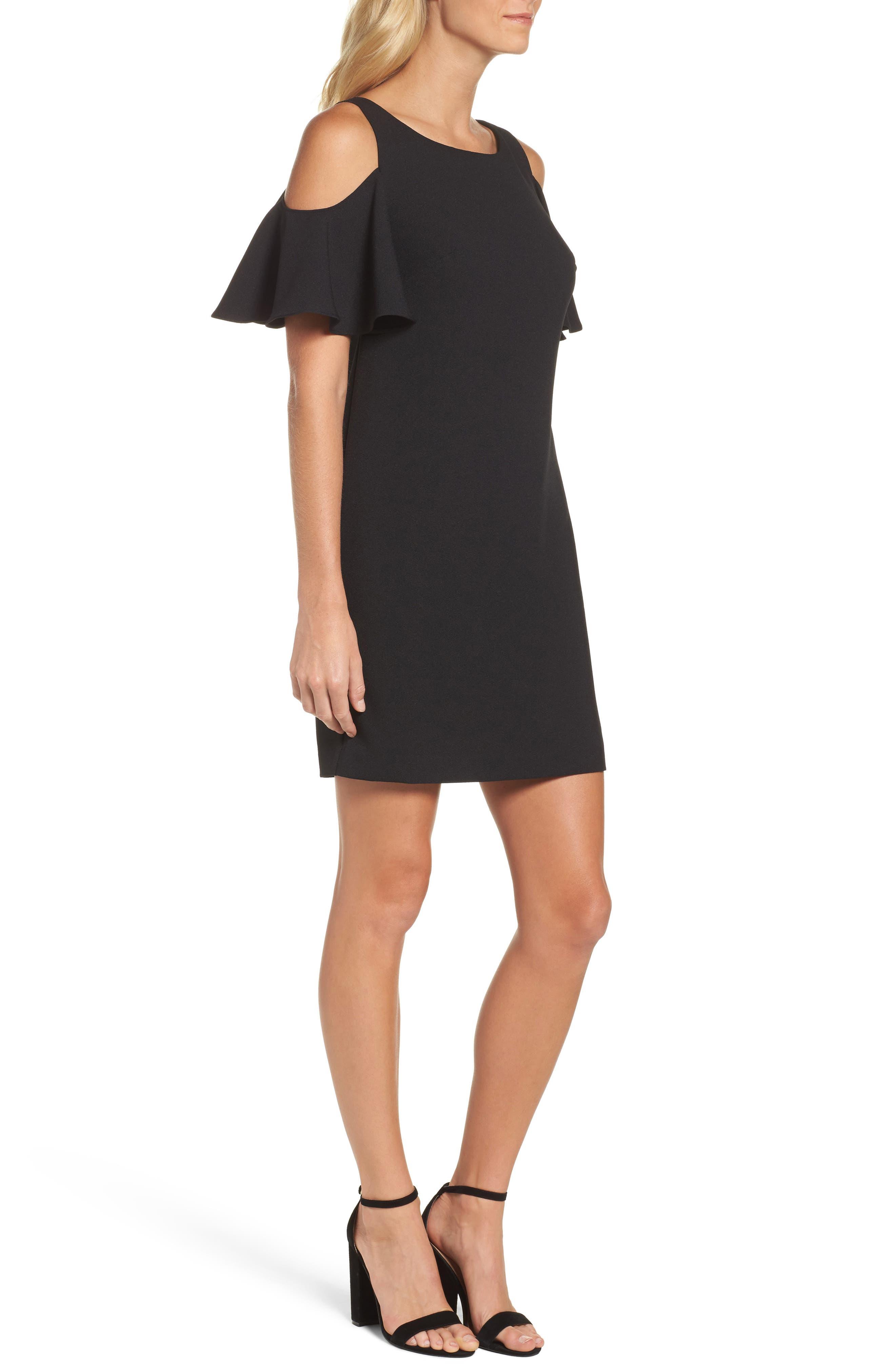 Ruffle Cold Shoulder Shift Dress,                             Alternate thumbnail 3, color,                             Black