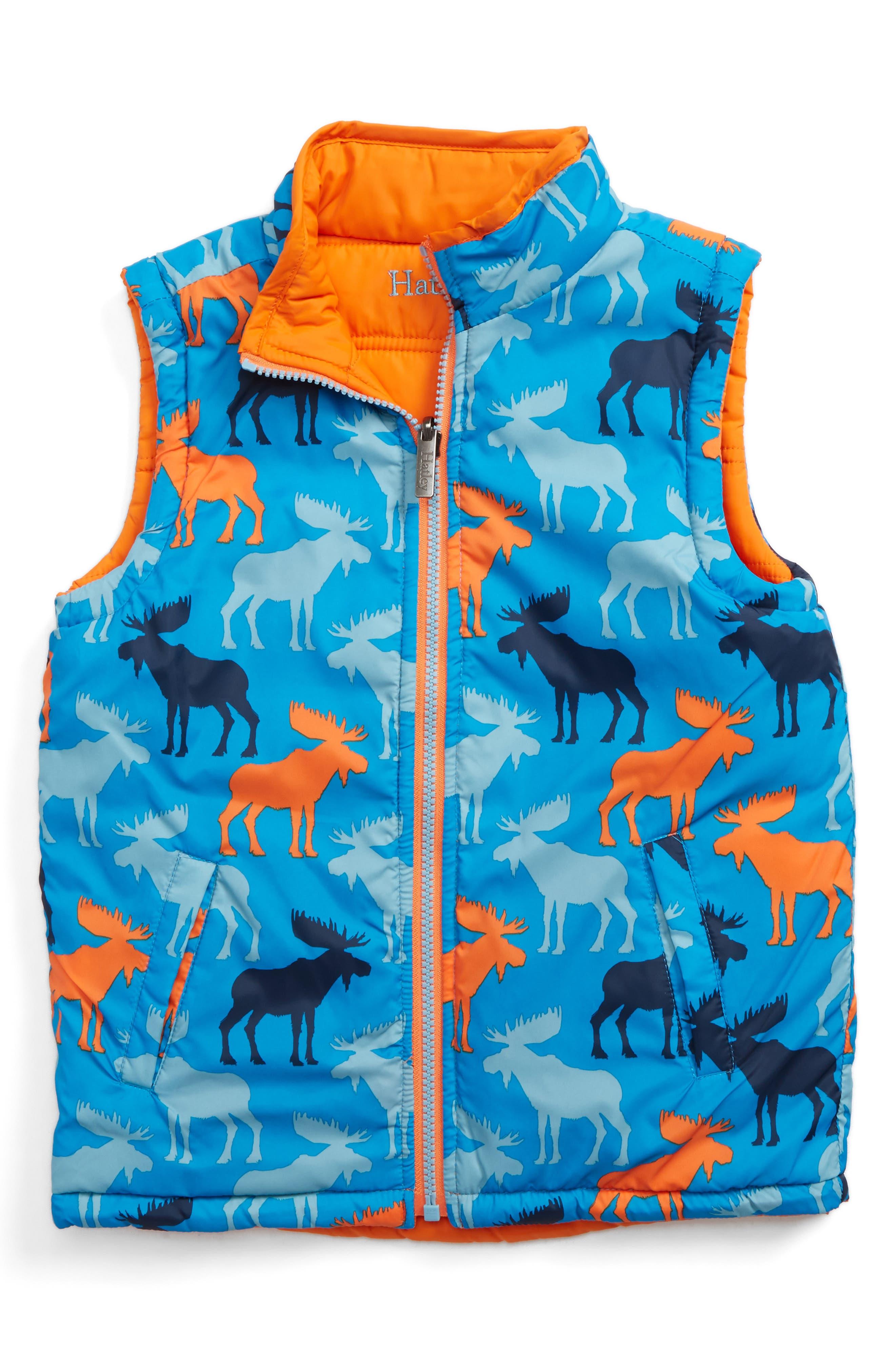 Reversible Puffer Vest,                         Main,                         color, Moose Shadows