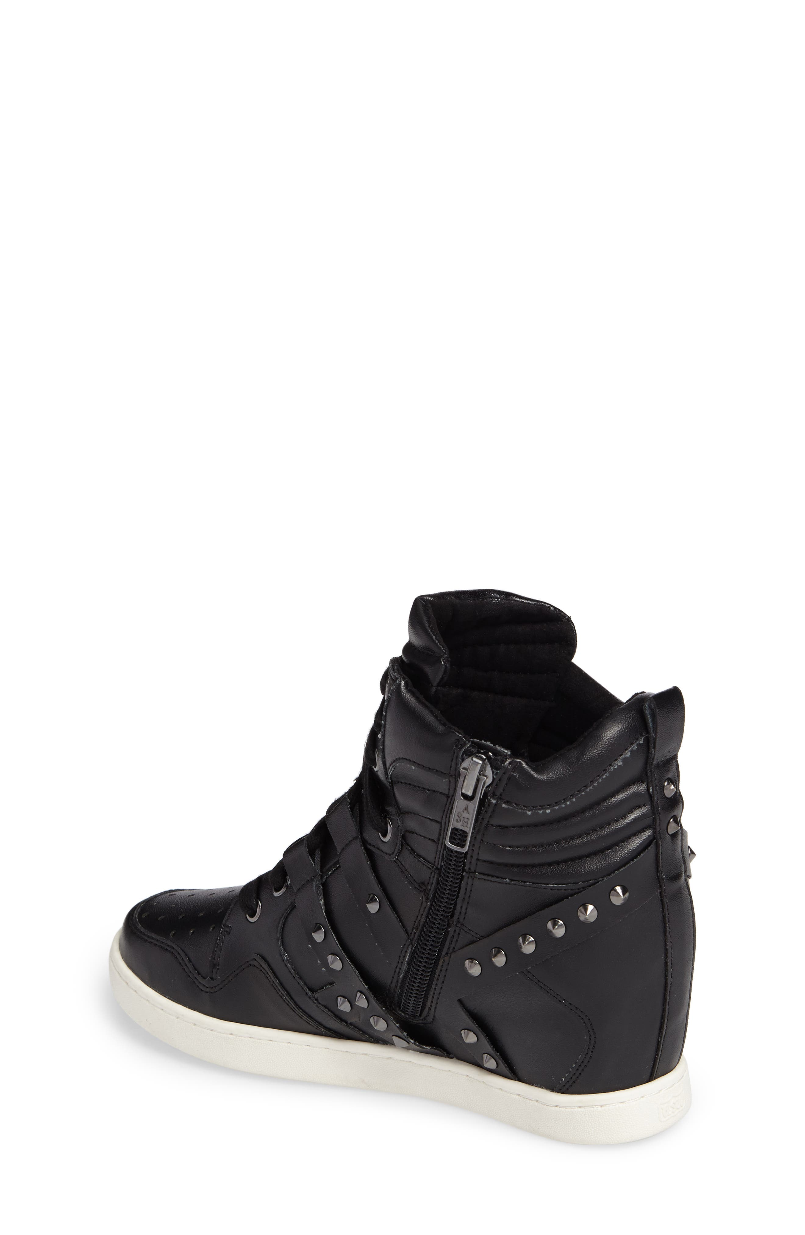 Boogie Chic Studded High Top Sneaker,                             Alternate thumbnail 2, color,                             Black Faux Leather
