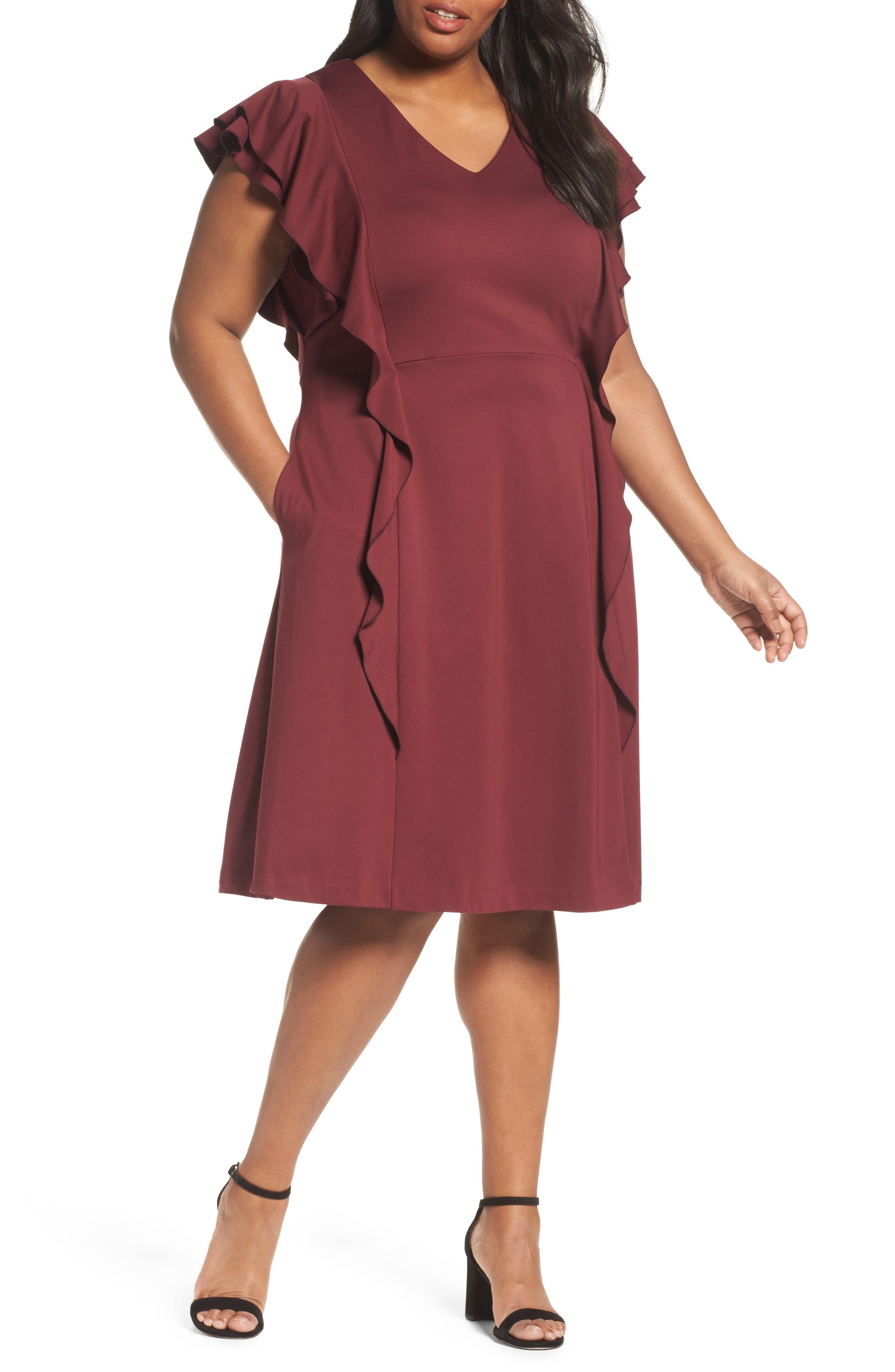 Ruffle Ponte Dress,                         Main,                         color, Red Tannin