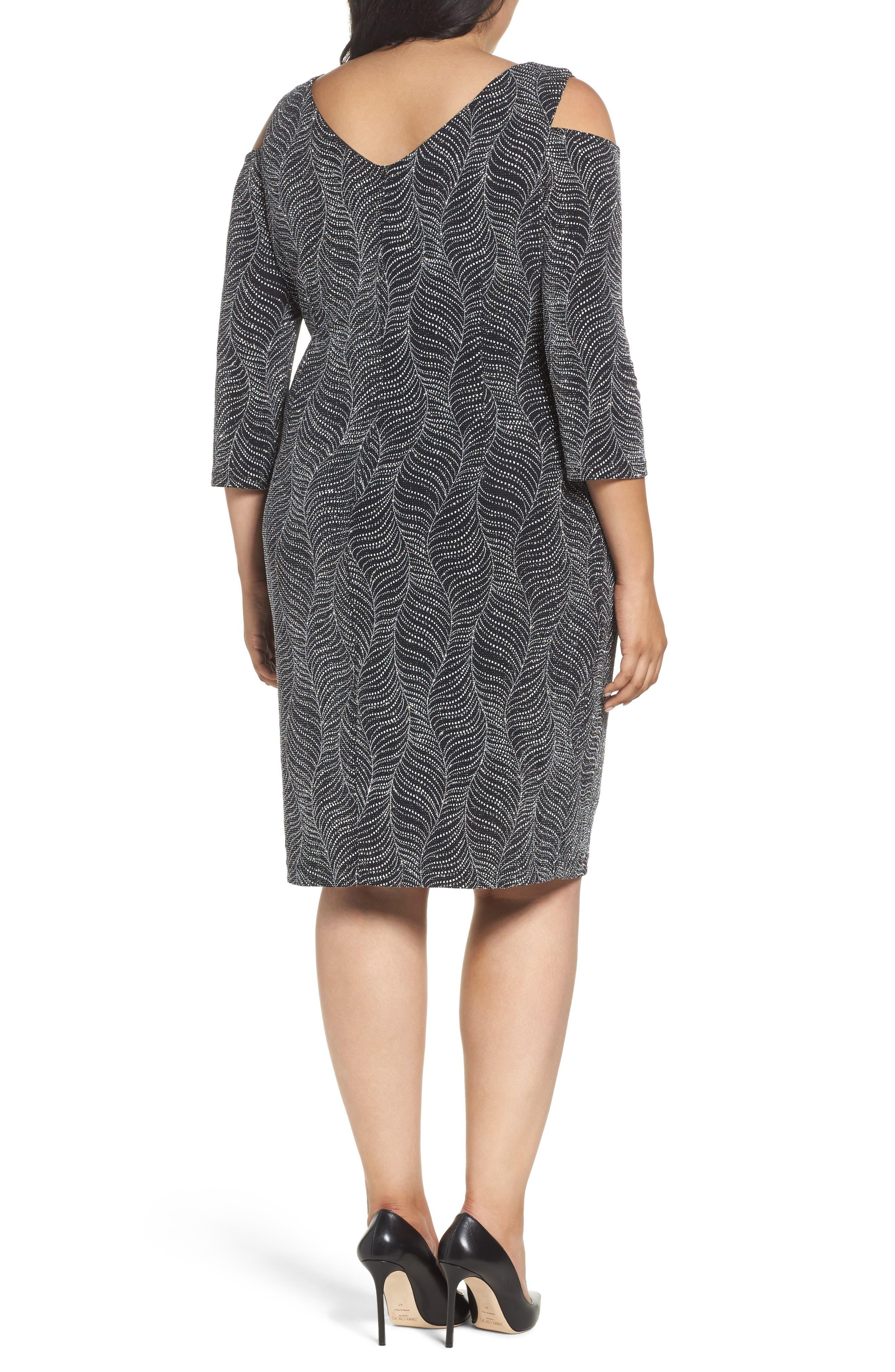 Cold Shoulder Glitter Knit Sheath Dress,                             Alternate thumbnail 2, color,                             Black/ Silver