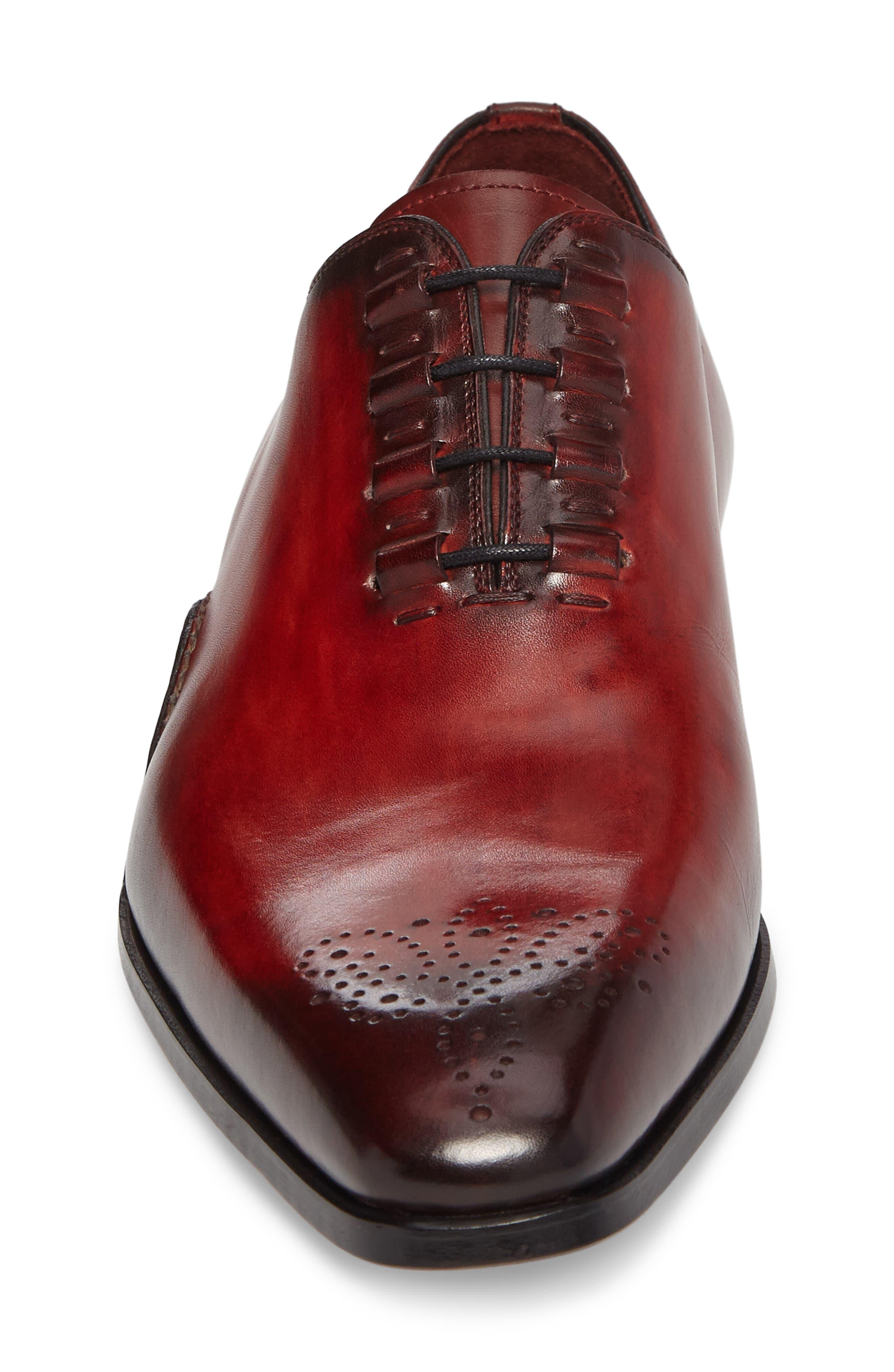 Josue Wholecut Oxford,                             Alternate thumbnail 4, color,                             Red Leather