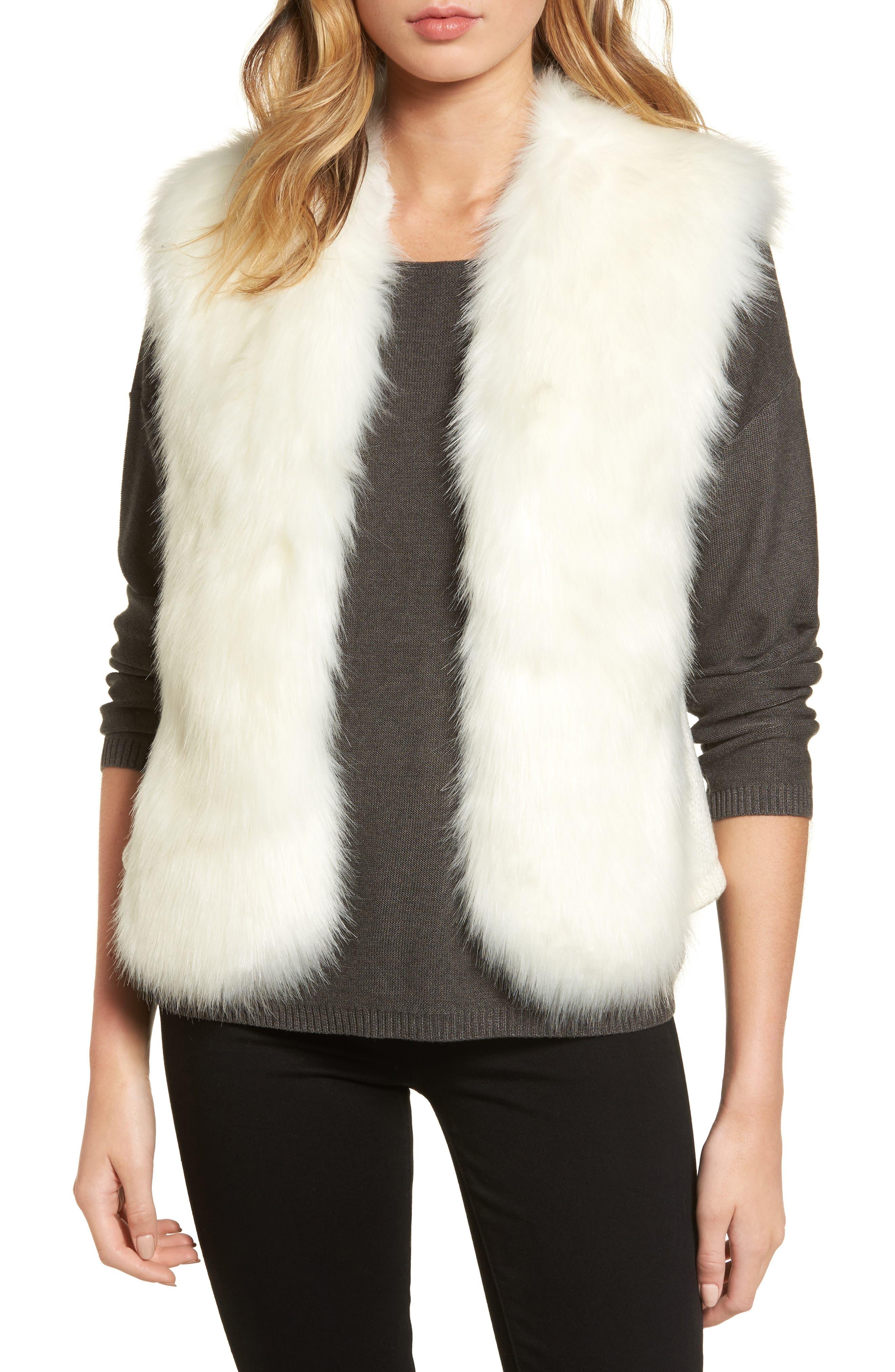 Alternate Image 1 Selected - Love Token Faux Fur Knit Vest