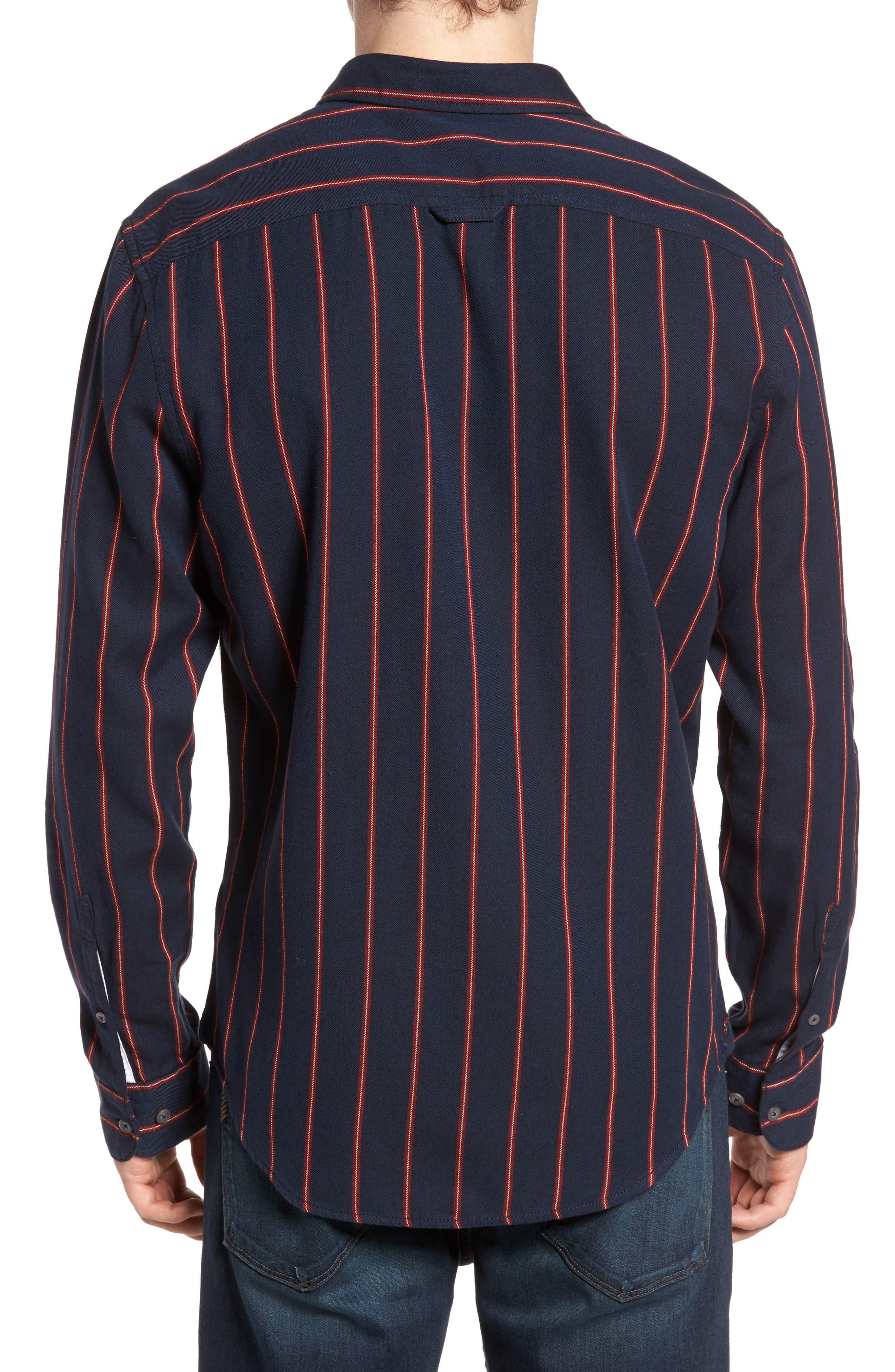 The Rail Long Sleeve Twill Shirt,                             Alternate thumbnail 2, color,                             Navy Peacoat Red Stripe